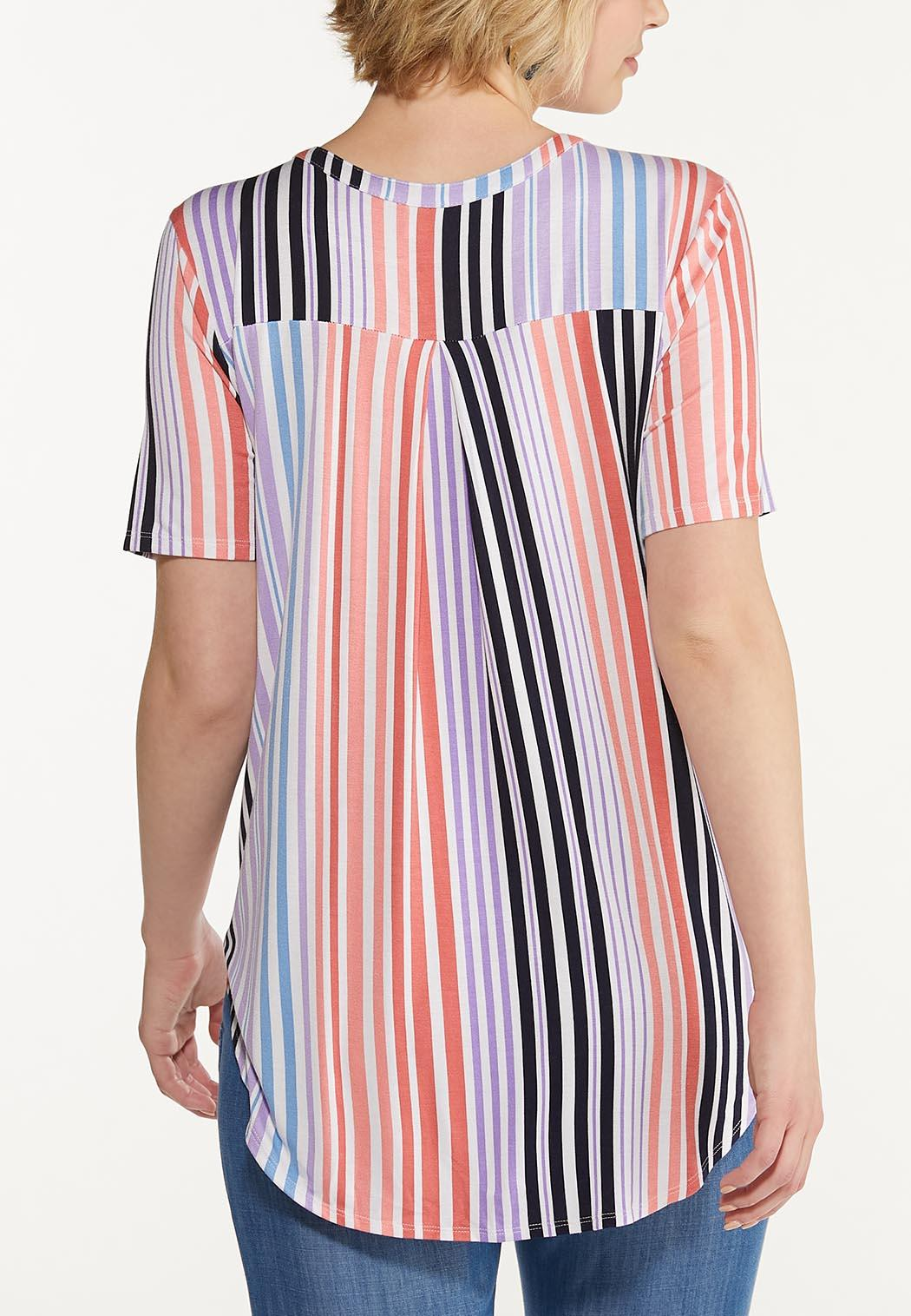 Button Stripe High-Low Top (Item #44561479)