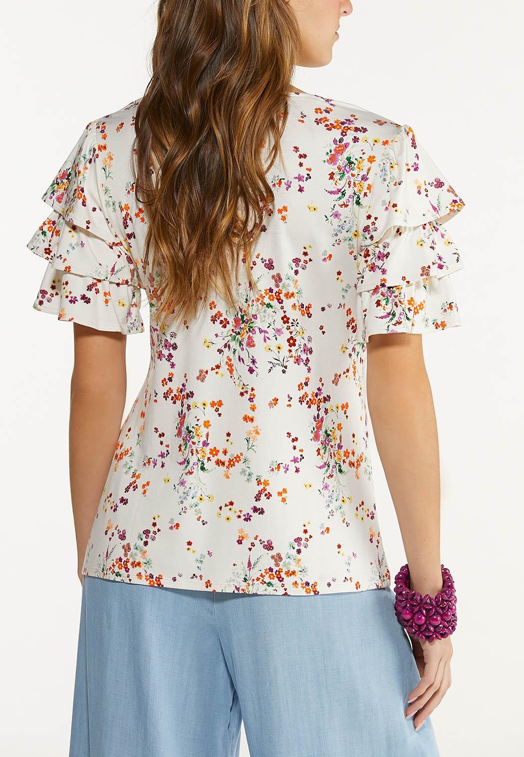 Plus Size Ruffled Spring Garden Top (Item #44561724)