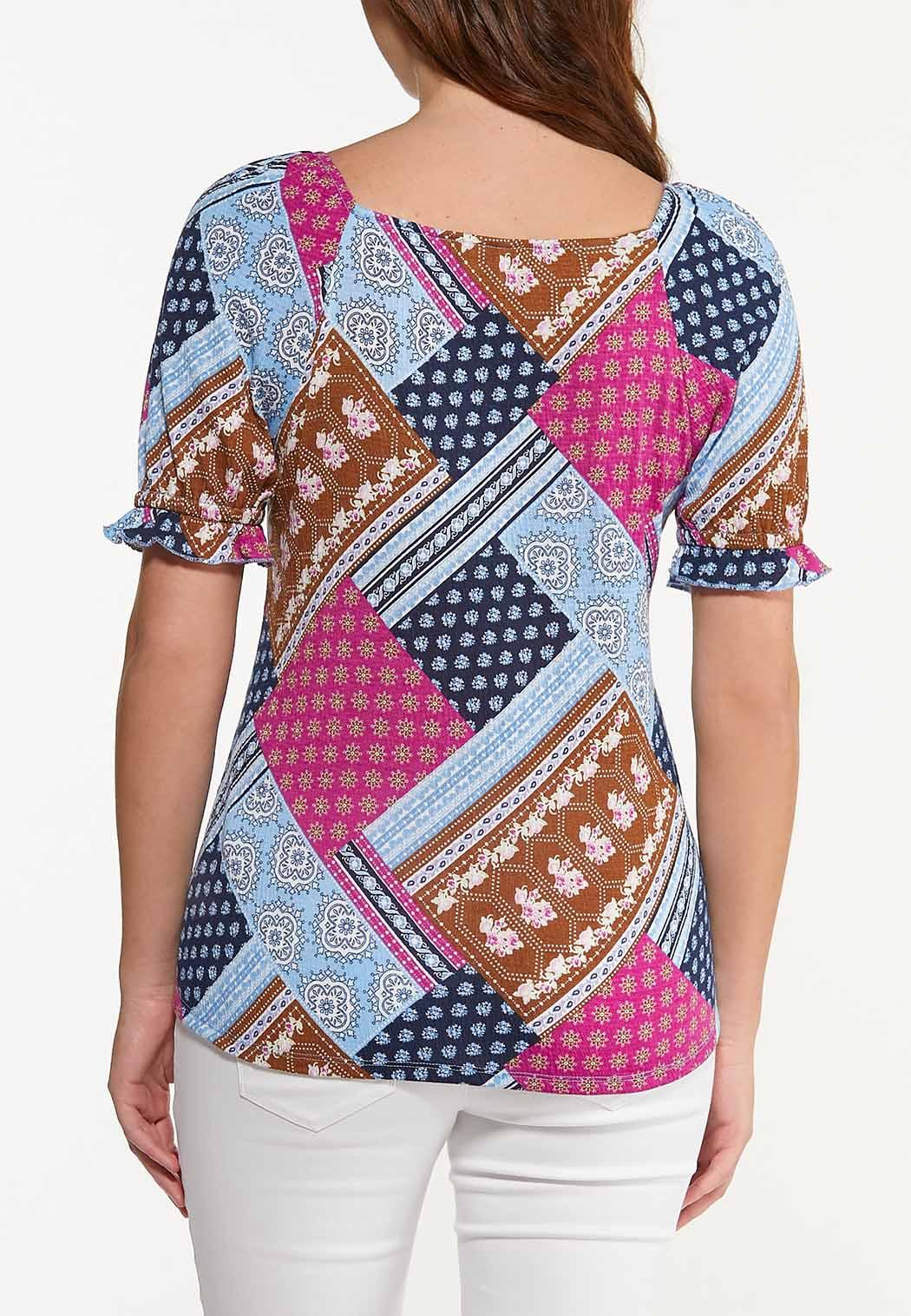 Plus Size Patchwork Puff Sleeve Top (Item #44561908)