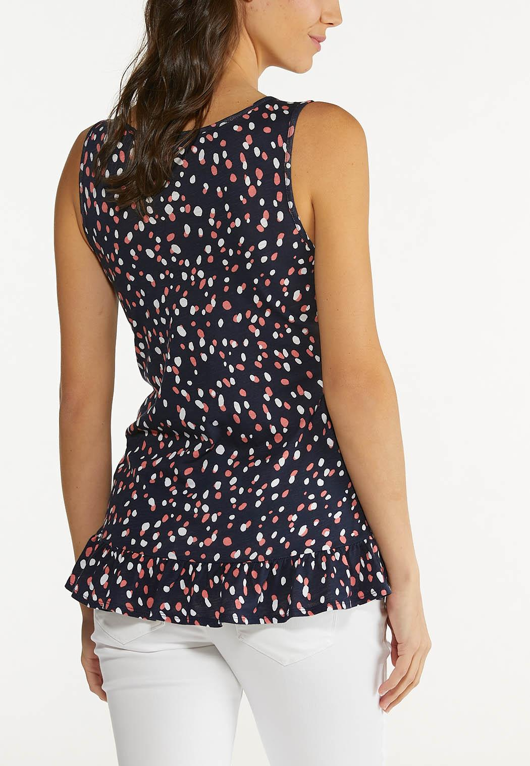 Plus Size Dotted Ruffled Tank (Item #44562022)