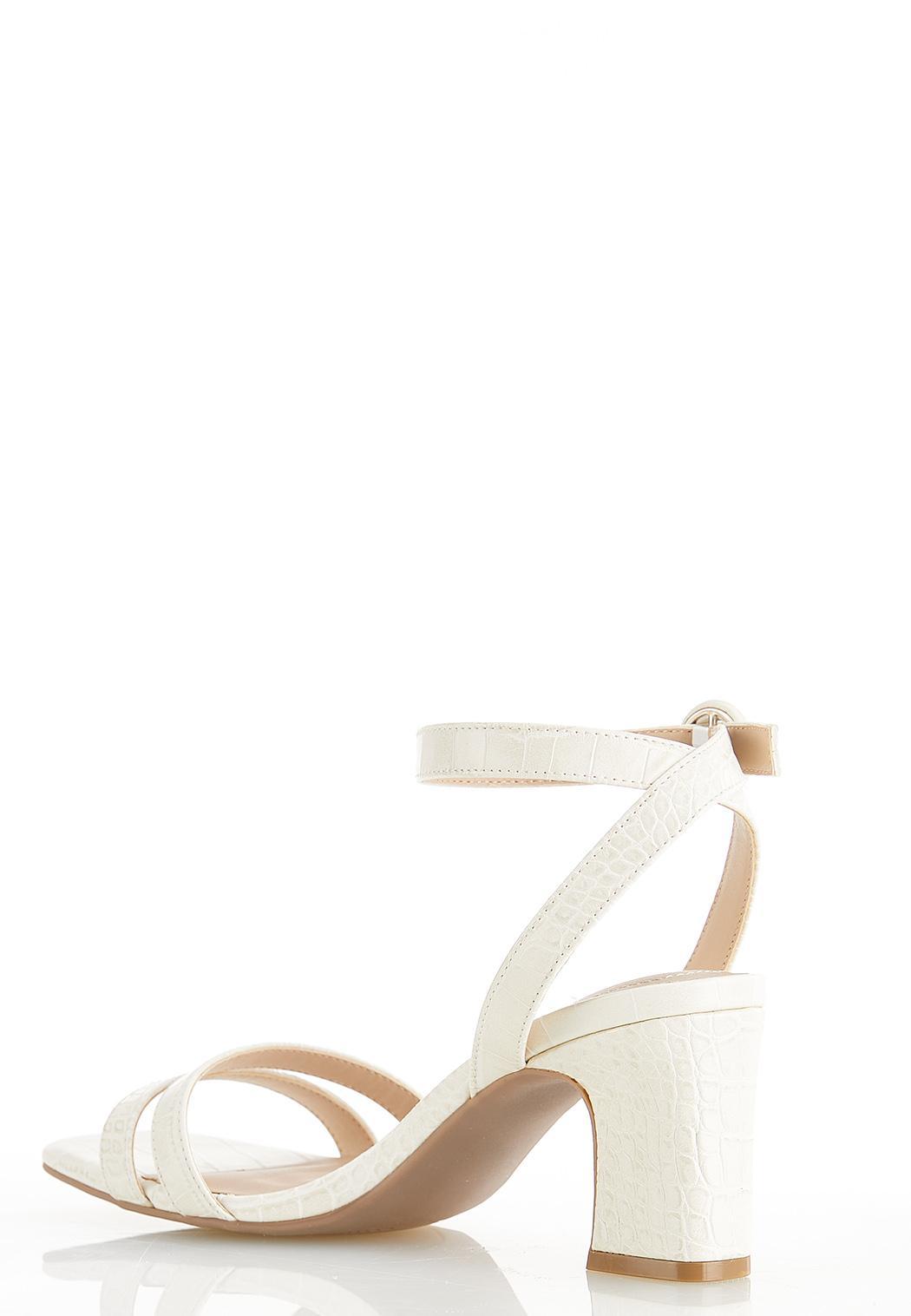 Wide Width Croc Ankle Strap Heeled Sandals (Item #44562054)