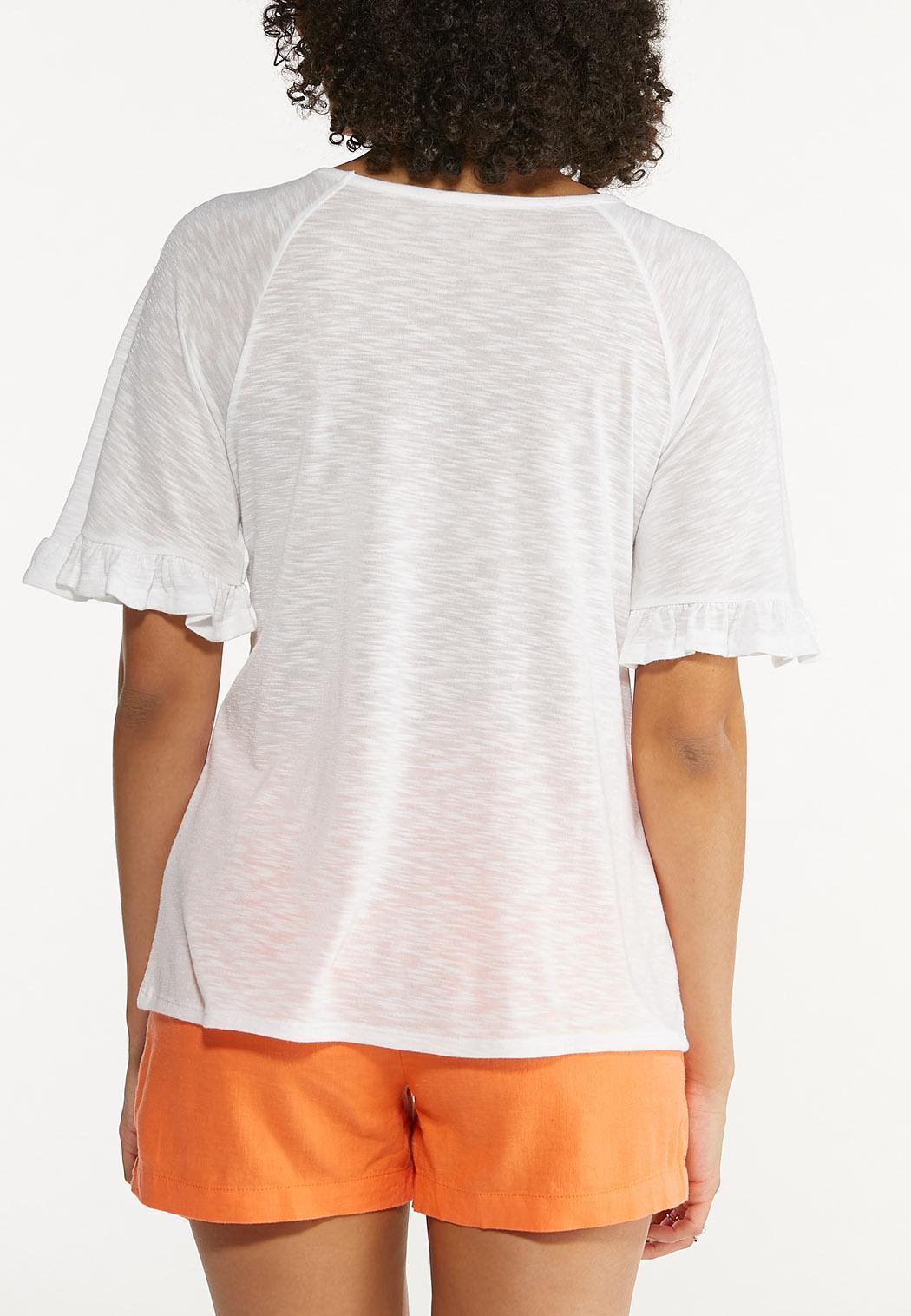 Plus Size Solid Flutter Sleeve Top (Item #44562204)