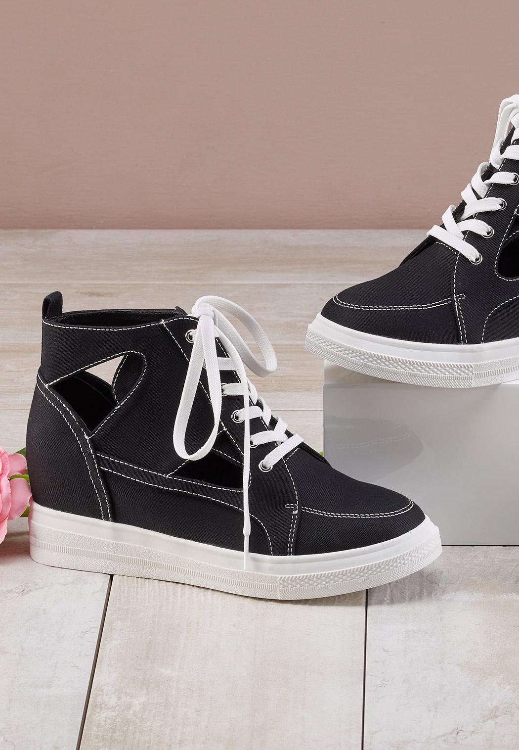 Cutout Wedge Sneakers (Item #44562308)