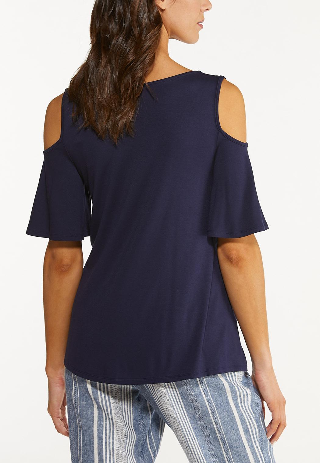 Plus Size Solid Cold Shoulder Top (Item #44562355)