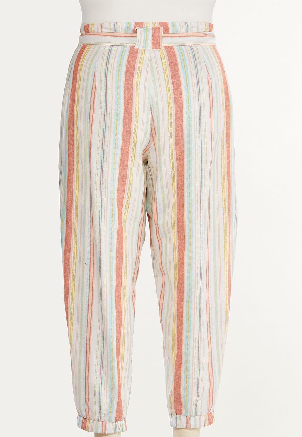 Plus Size Striped Linen Joggers (Item #44562425)