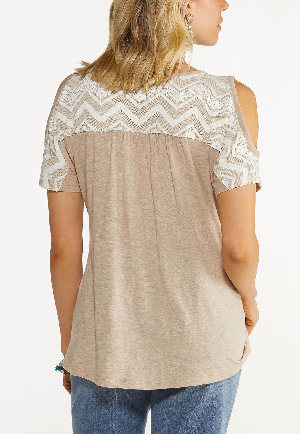 Plus Size Lace Cold Shoulder Top (Item #44562429)