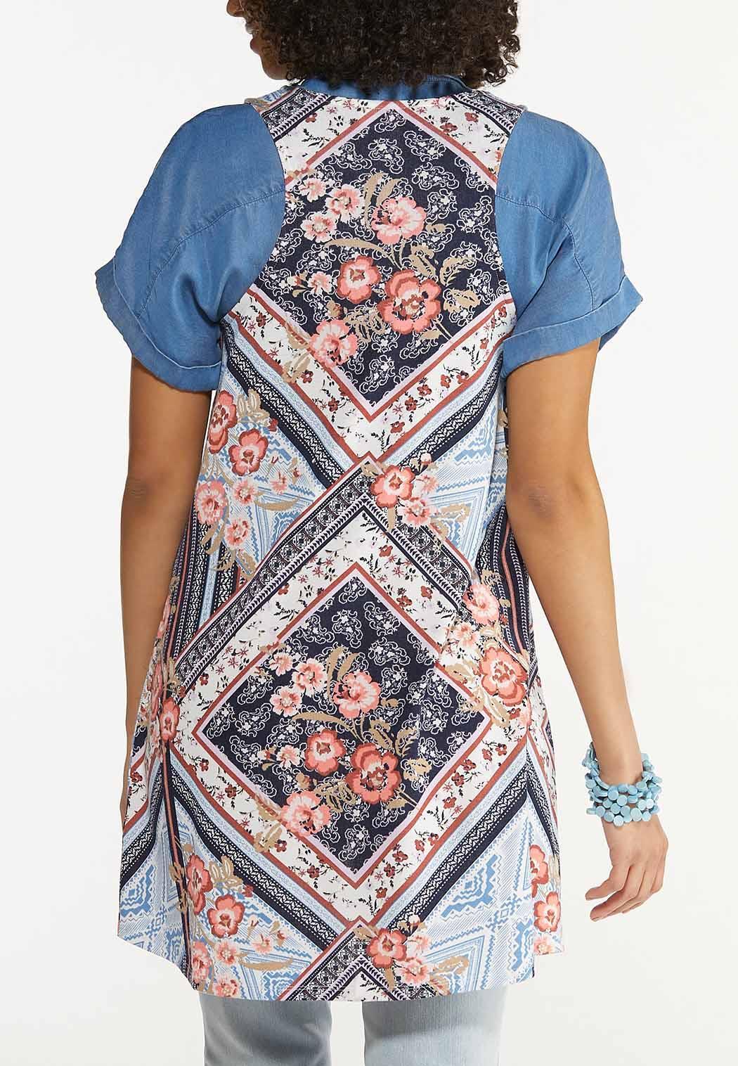 Plus Size Patchwork Hacci Vest (Item #44562785)