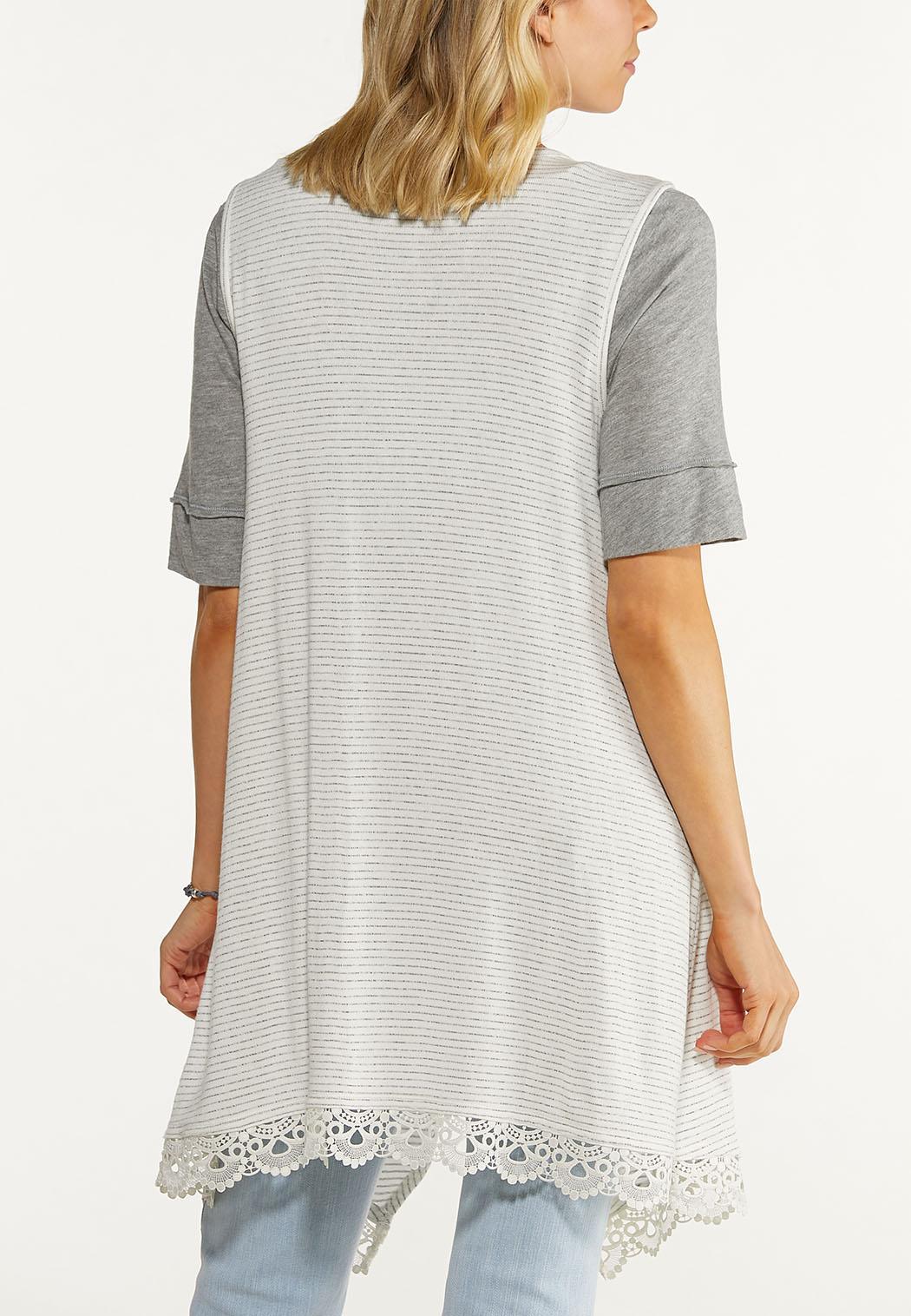Striped Lace Trim Vest (Item #44562841)