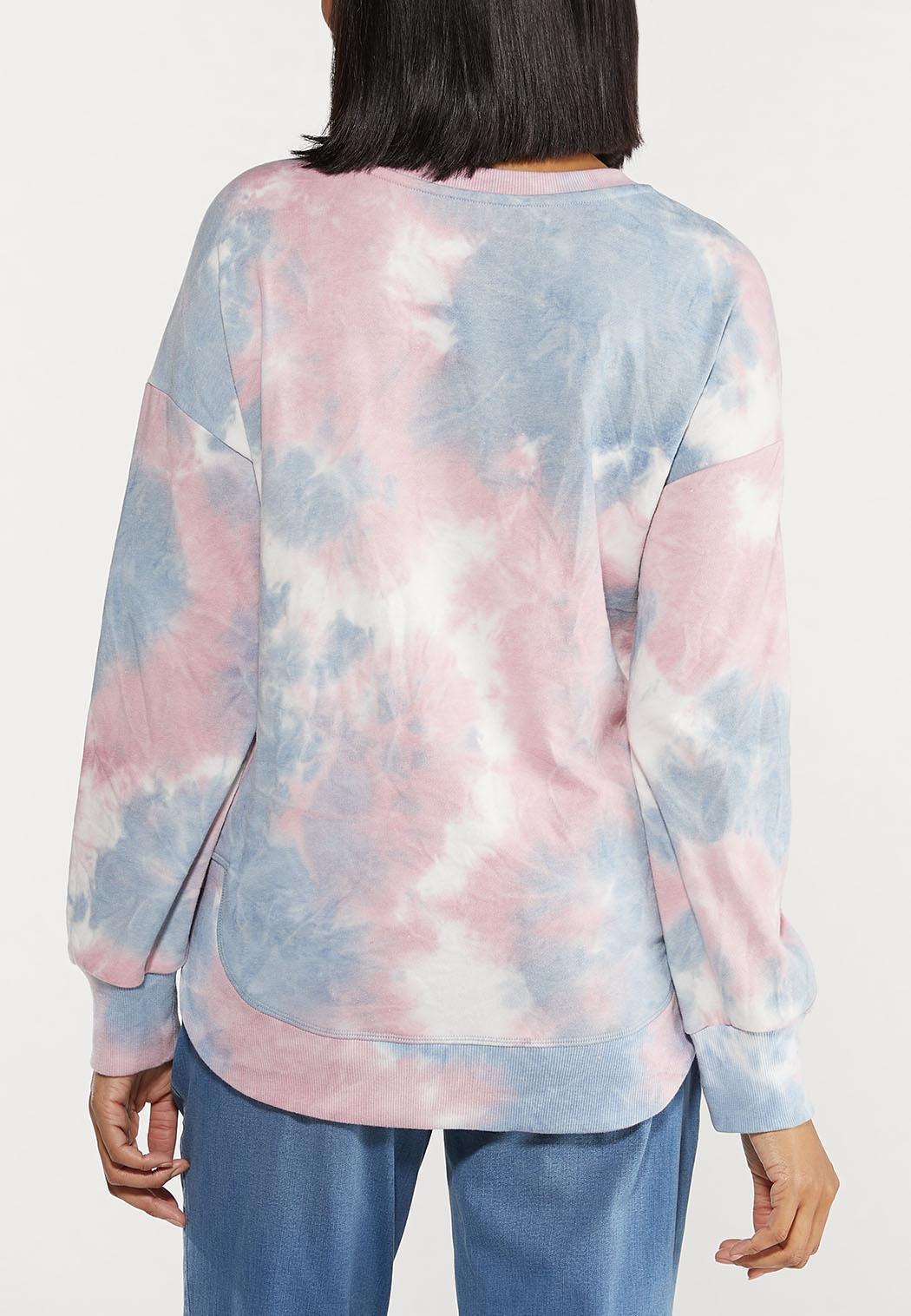 Plus Size Distressed Tie Dye Sweatshirt (Item #44562989)