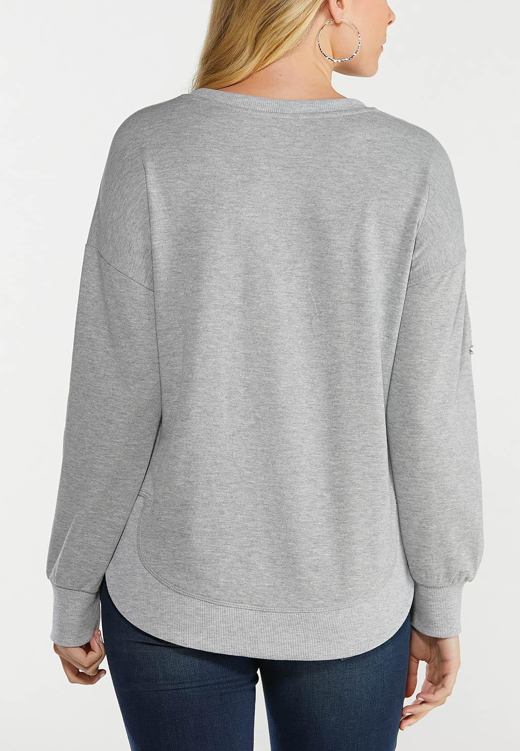 Plus Size Gray Distressed Sweatshirt (Item #44563067)