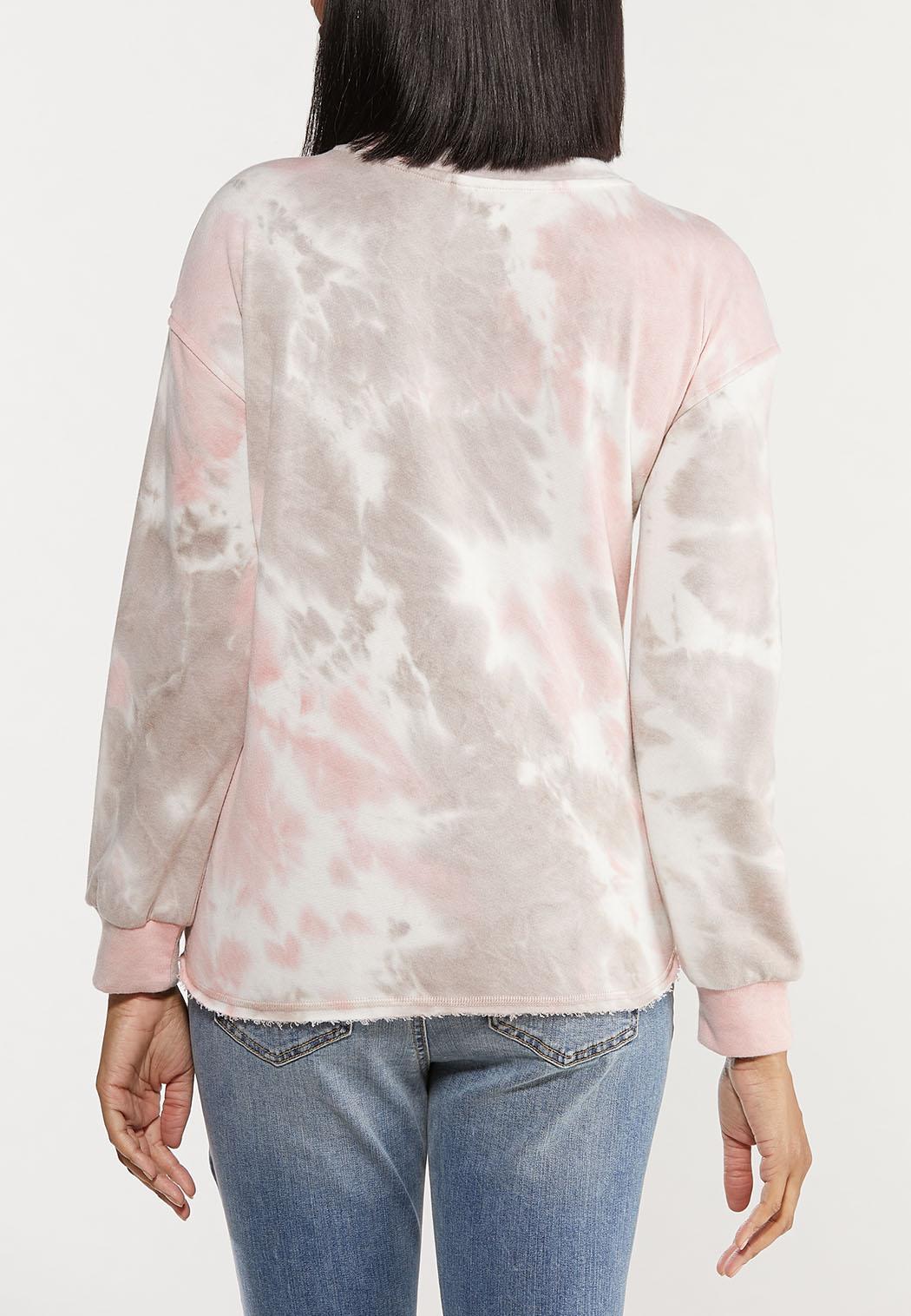 Plus Size Distressed Tie Dye Sweatshirt (Item #44563165)