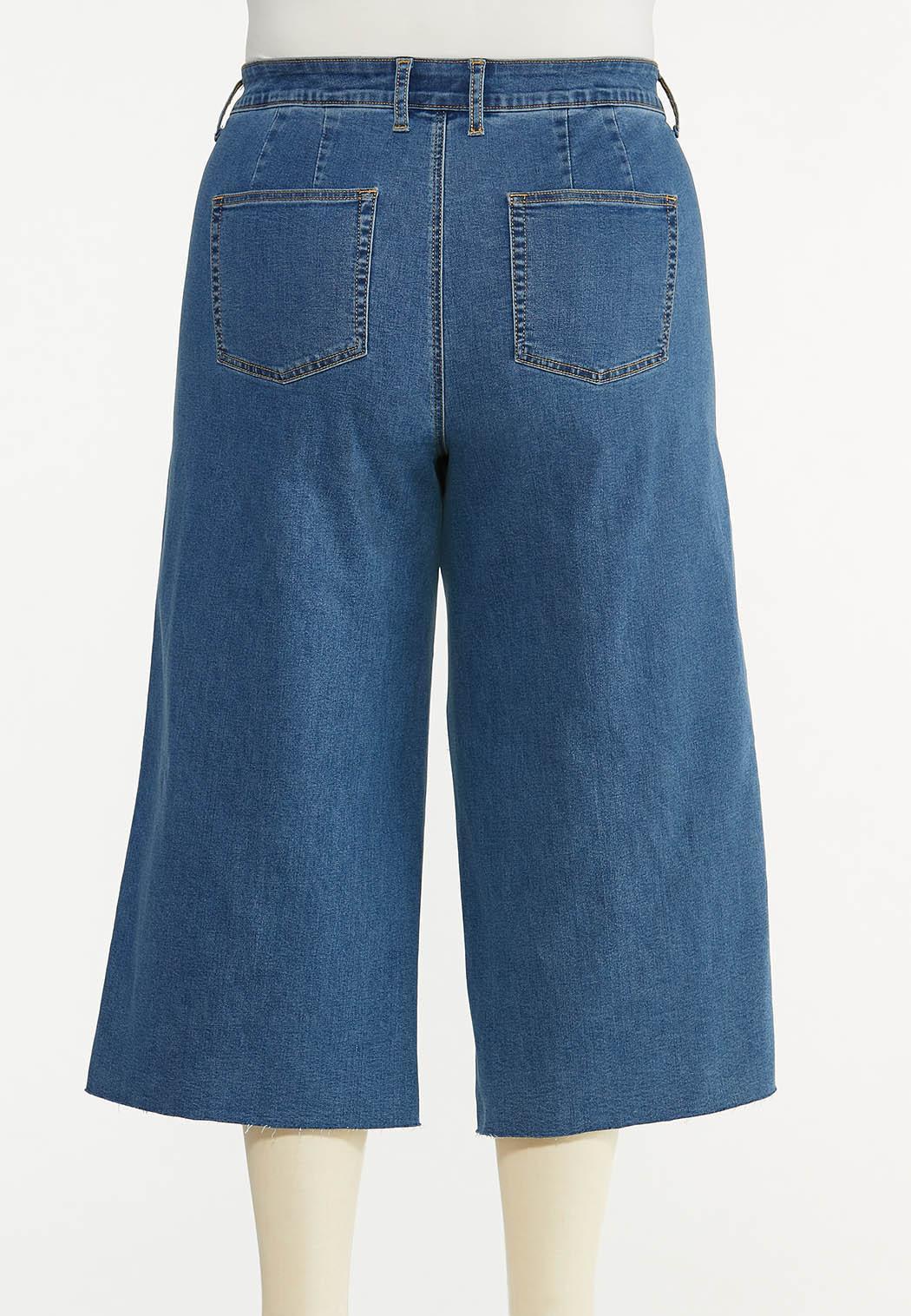 Plus Size Cropped Wide Leg Jeans (Item #44563417)