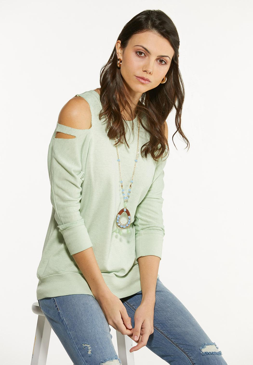 Plus Size Cutout Cold Shoulder Sweatshirt (Item #44564010)