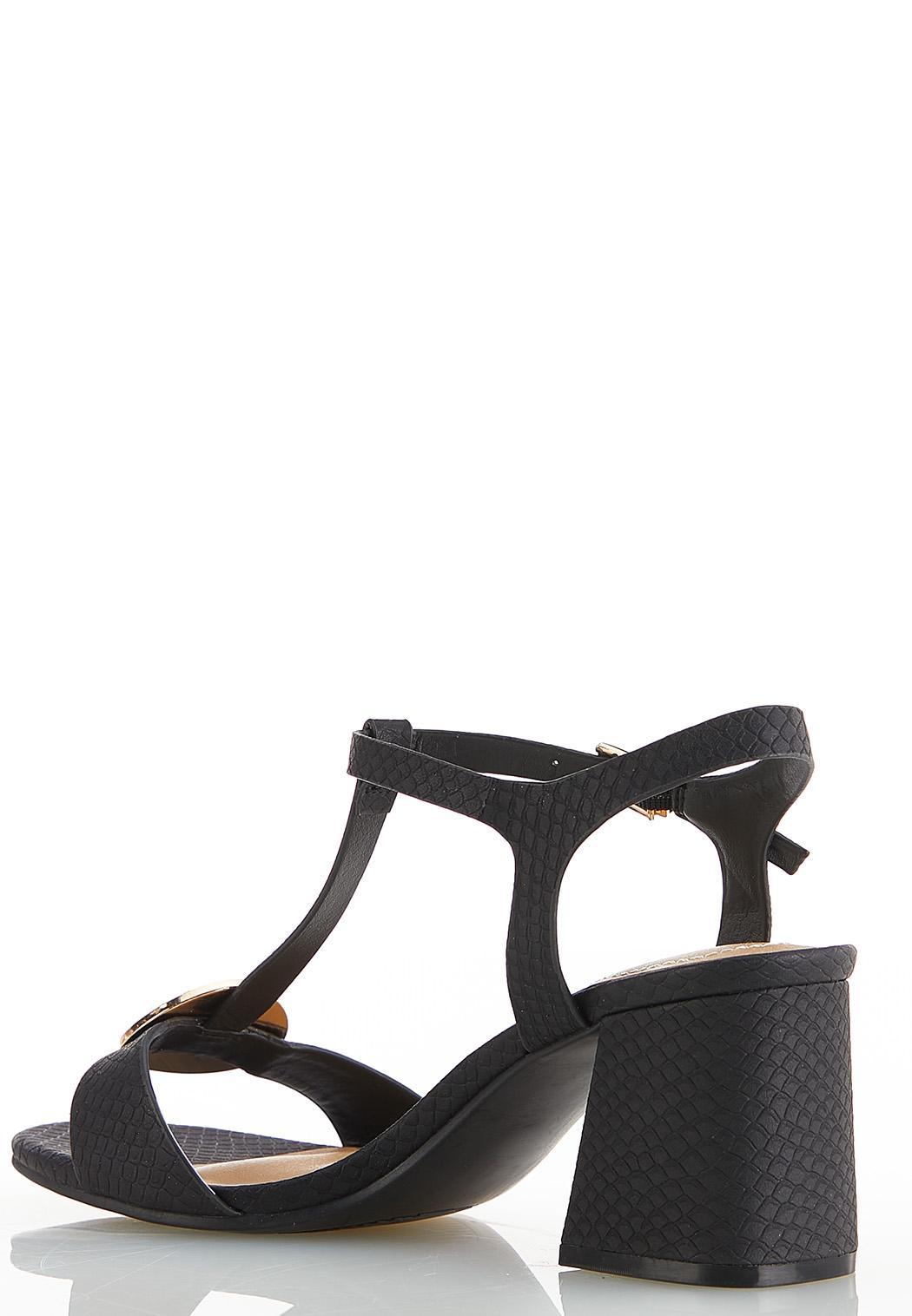 Wide Width T-Strap Heeled Sandals (Item #44564252)