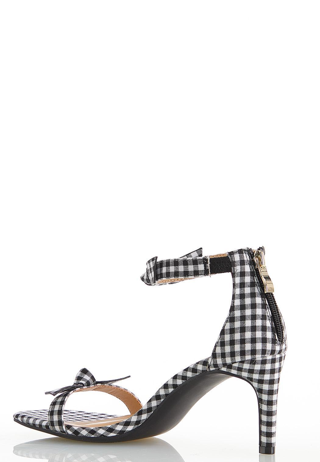 Gingham Knot Heeled Sandals (Item #44564325)