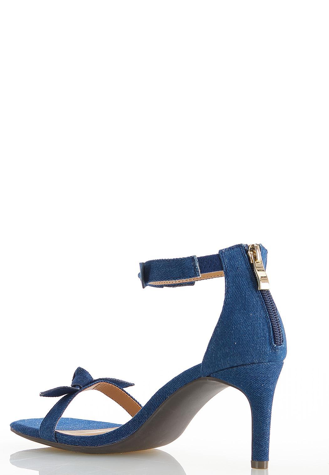 Wide Width Denim Knot Heeled Sandals (Item #44564444)