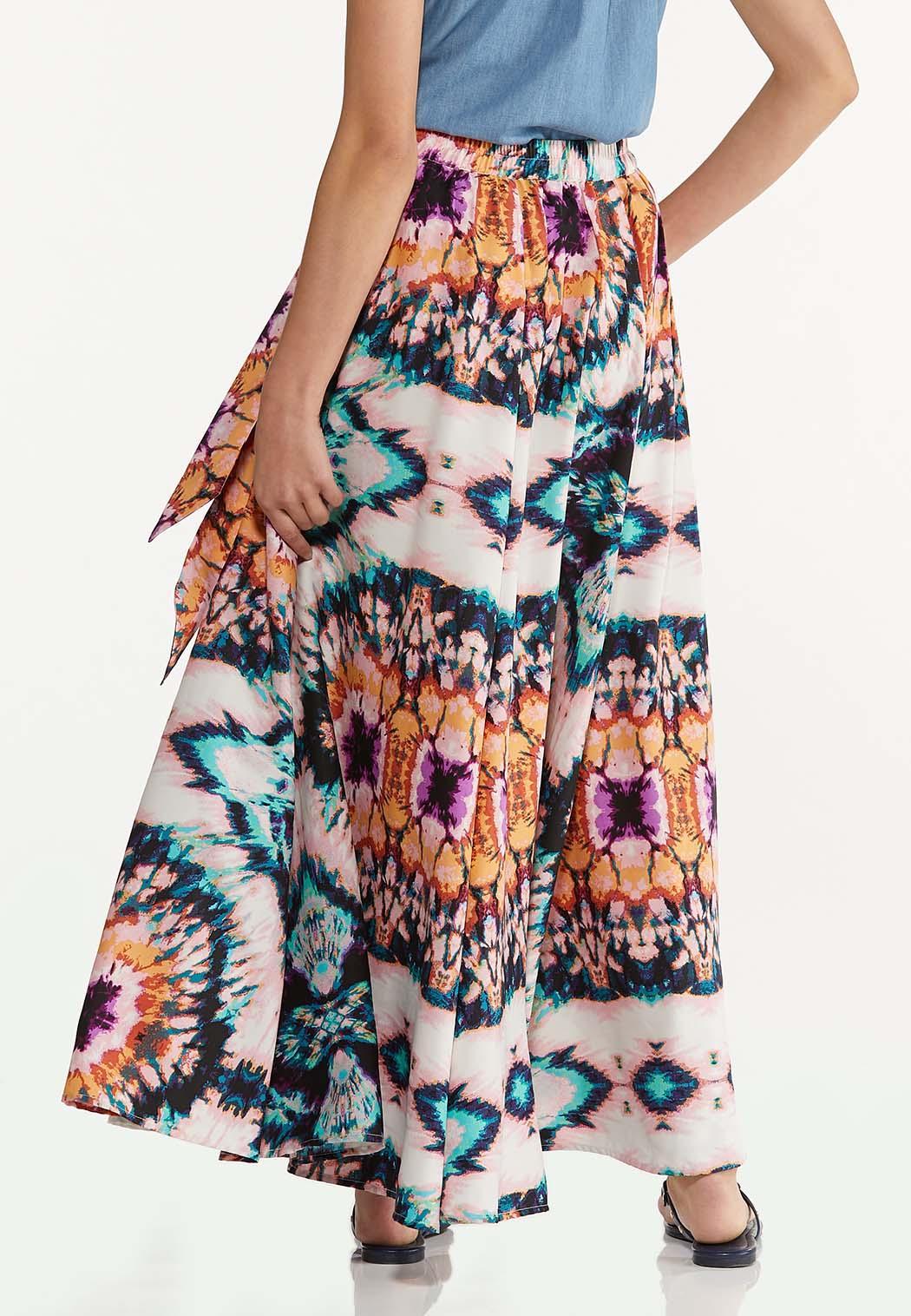 Plus Size Tie Dye Maxi Skirt (Item #44565350)