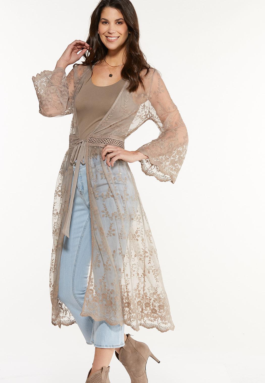 Plus Size Tan Lace Kimono (Item #44565990)