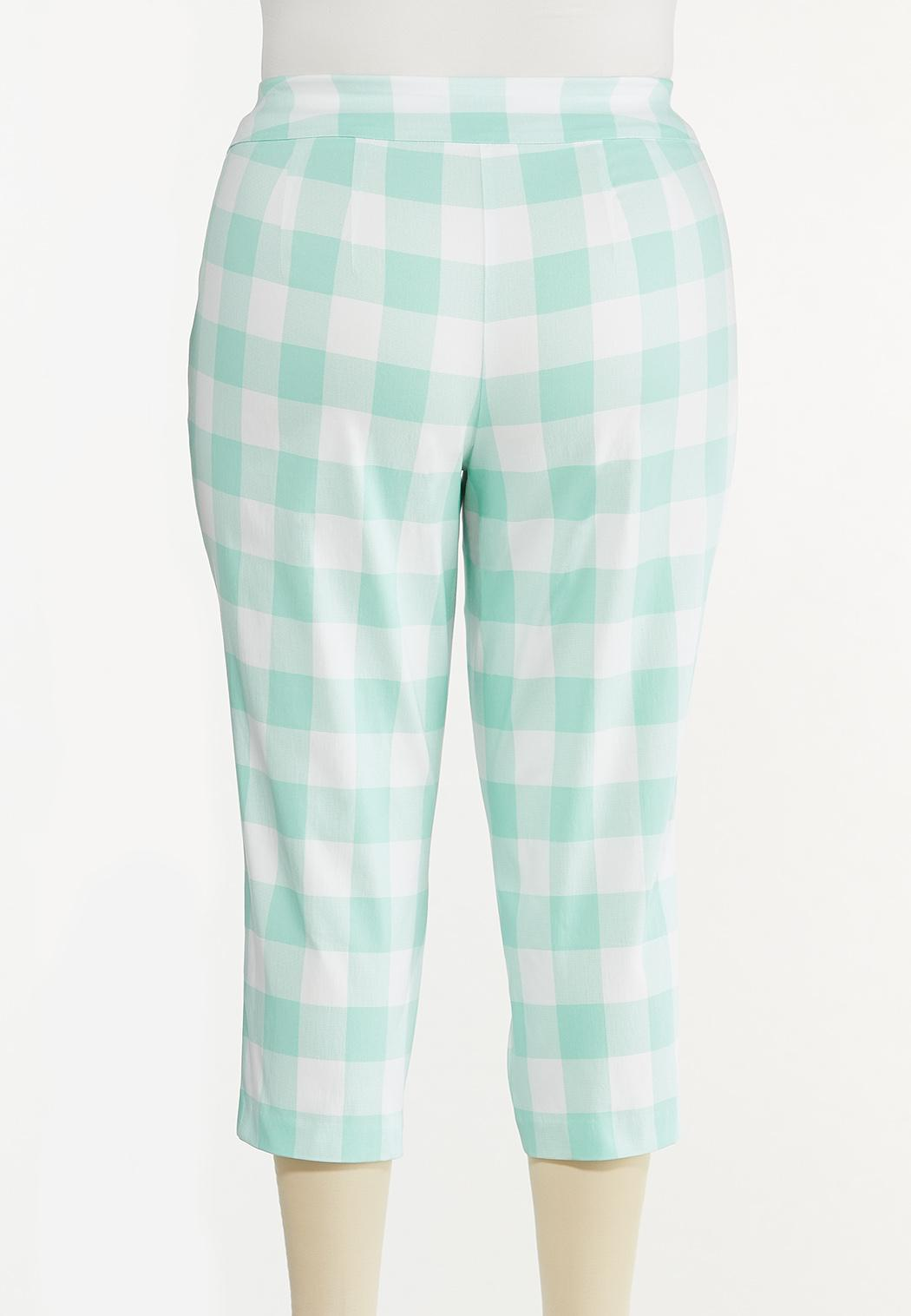Plus Size Cropped Mint Gingham Pants (Item #44566212)