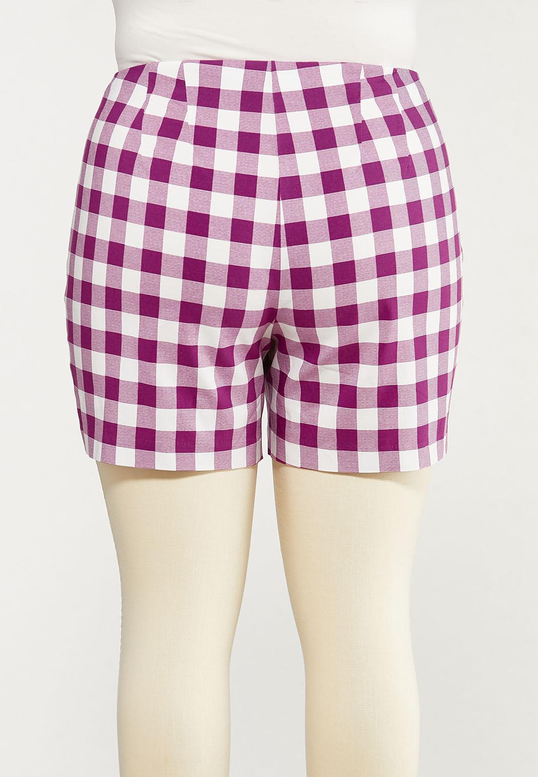 Plus Size Gingham Bengaline Shorts (Item #44566493)