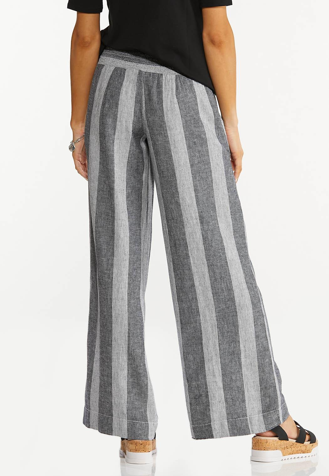 Black Stripe Linen Pants (Item #44567208)