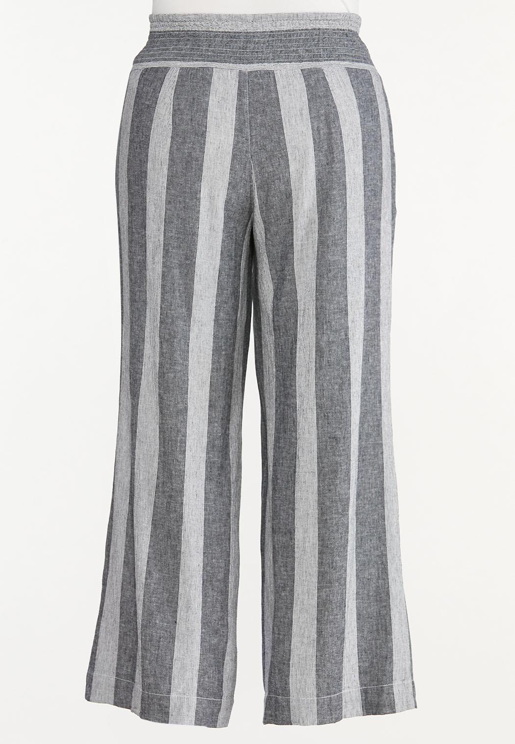 Plus Size Black Stripe Linen Pants (Item #44567274)