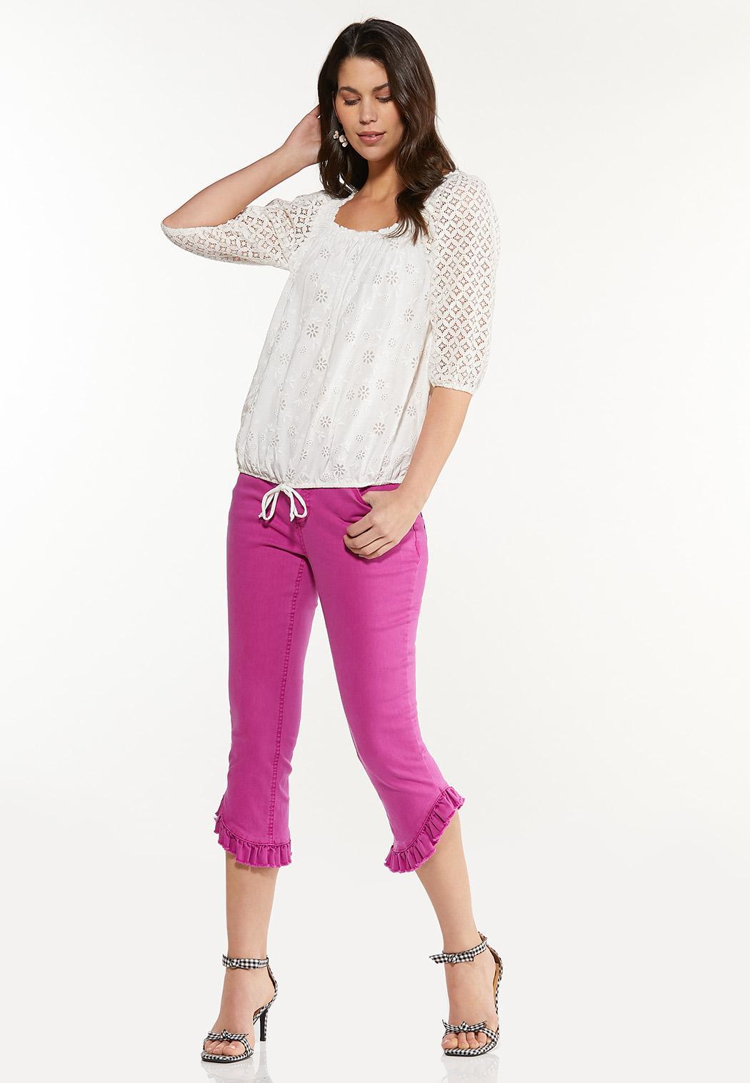 Plus Size Crochet Tie Waist Top (Item #44567483)