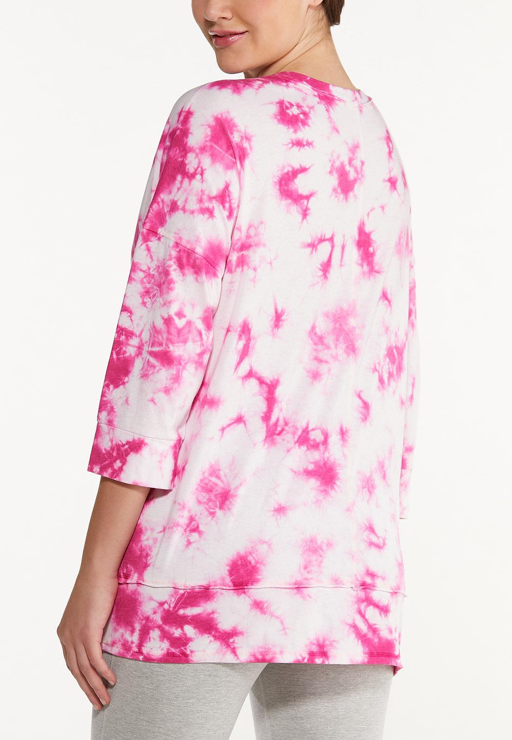 Plus Size Pink Tie Dye Top (Item #44567599)
