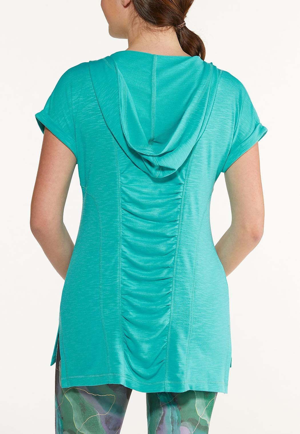 Plus Size French Terry Zippered Top (Item #44567629)