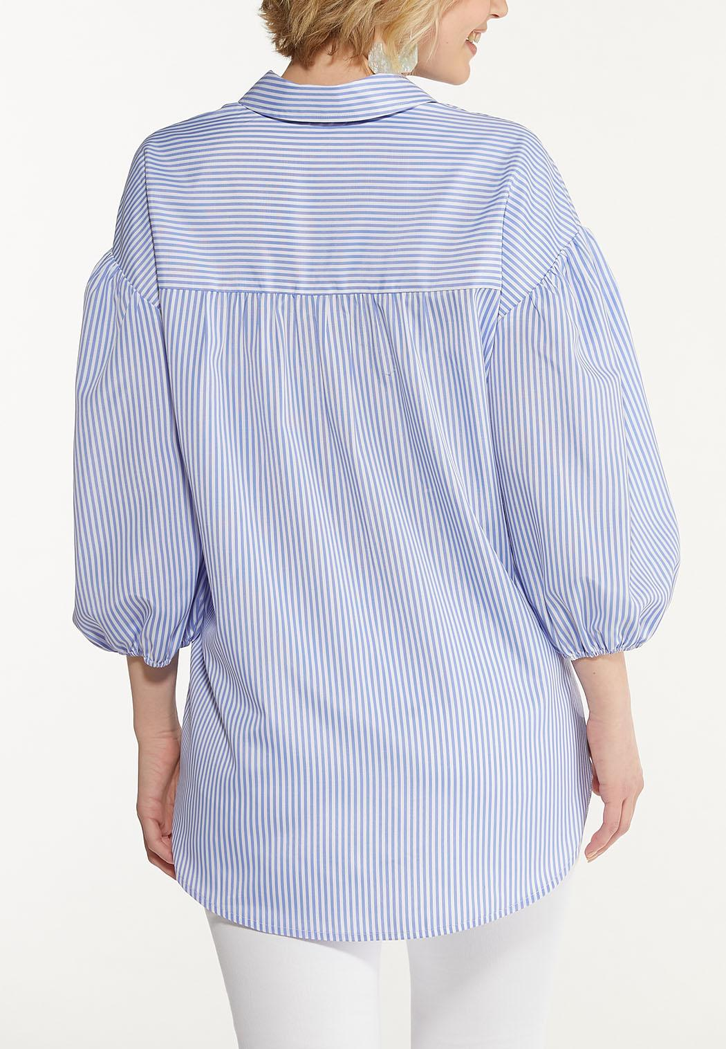 Plus Size Blue Striped Puff Sleeve Shirt (Item #44567678)
