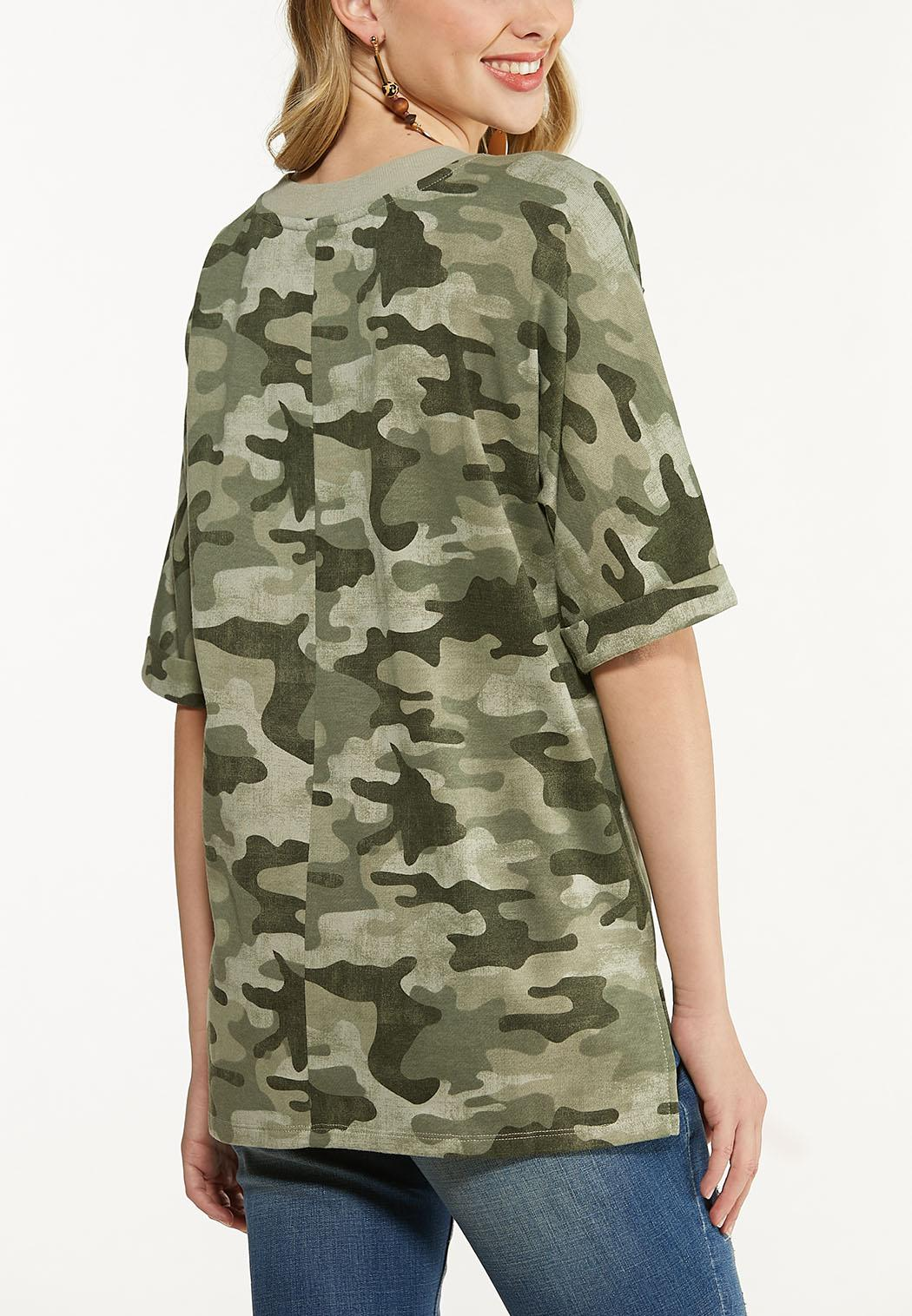 Plus Size Distressed Camo Top (Item #44568192)