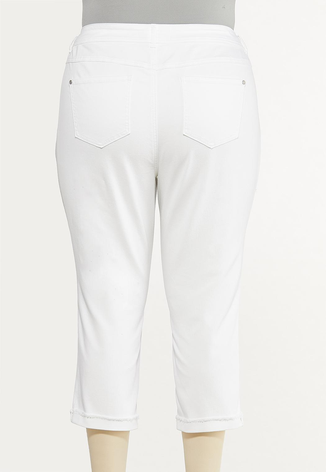 Plus Size White Cropped Girlfriend Jeans (Item #44568622)