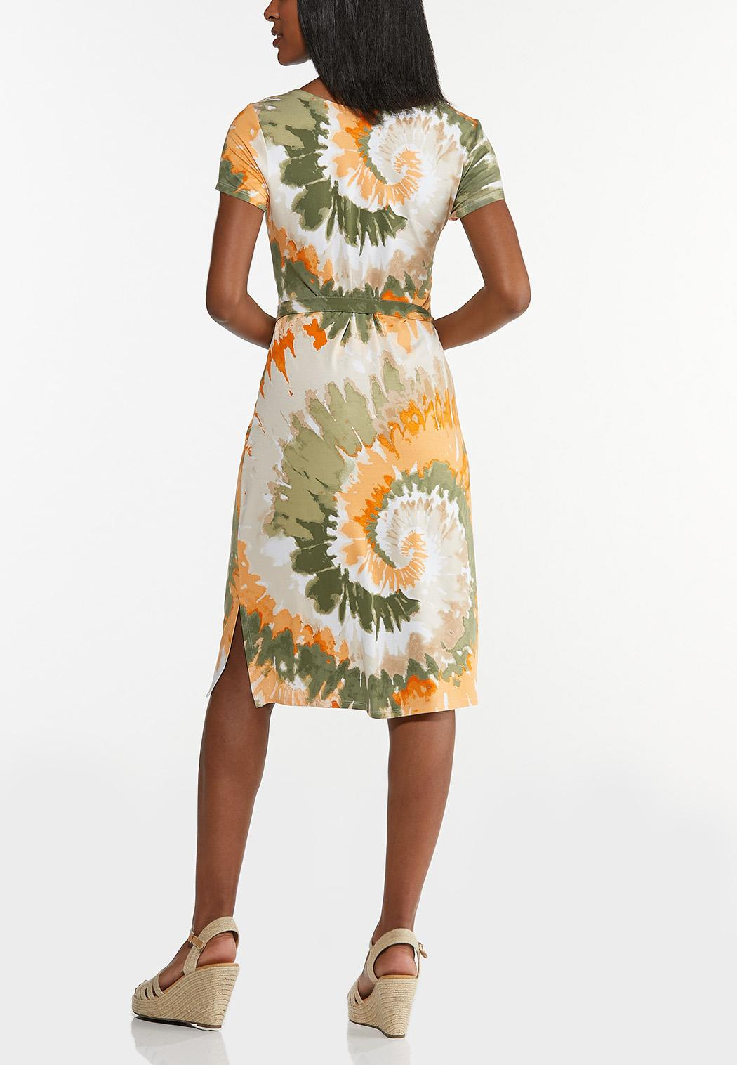 Plus Size Tie Dye Belted Dress (Item #44568901)