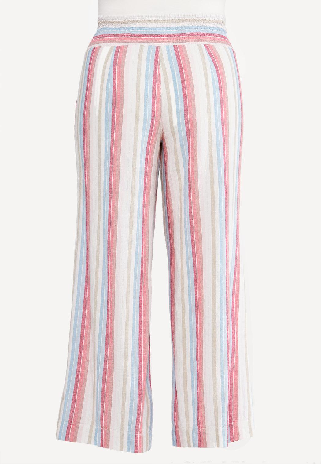Plus Size Striped Linen Palazzo Pants (Item #44569863)