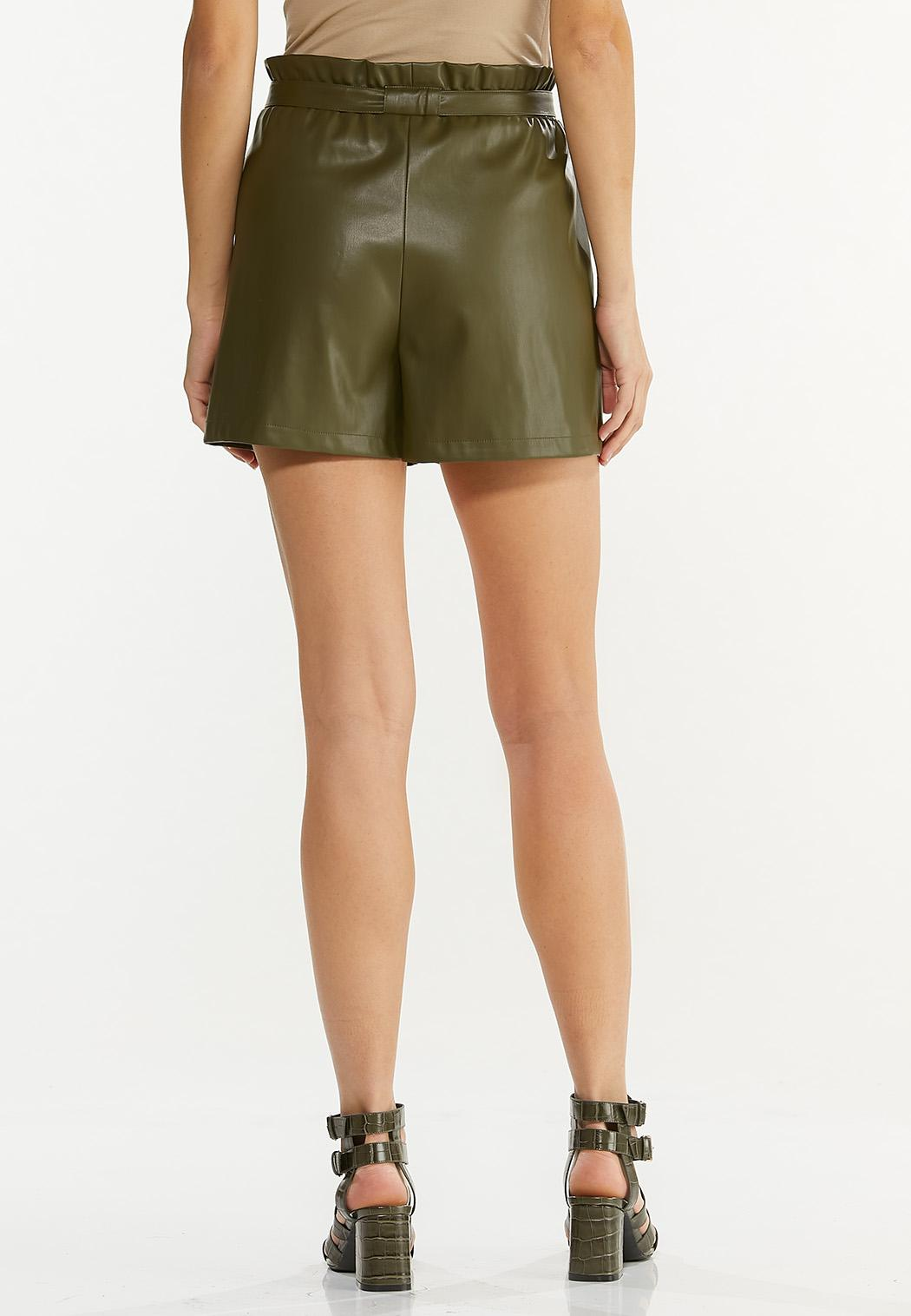 Olive Faux Leather Shorts (Item #44570088)
