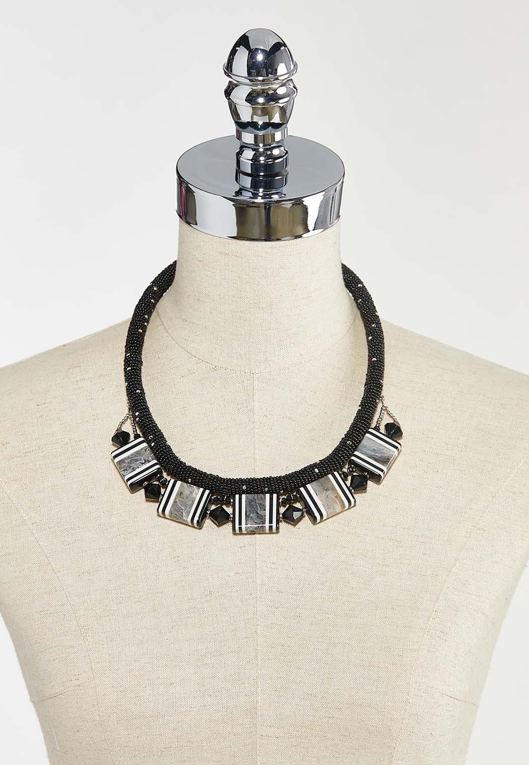 Seed Bead Resin Bib Necklace (Item #44570182)