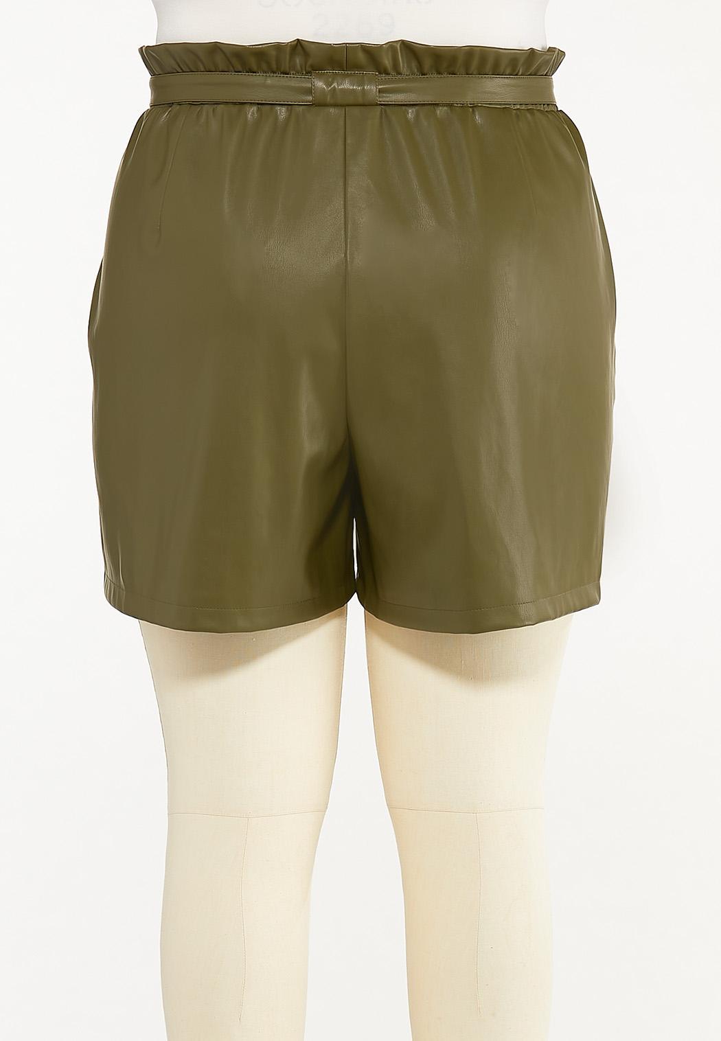 Plus Size Olive Faux Leather Shorts (Item #44570223)