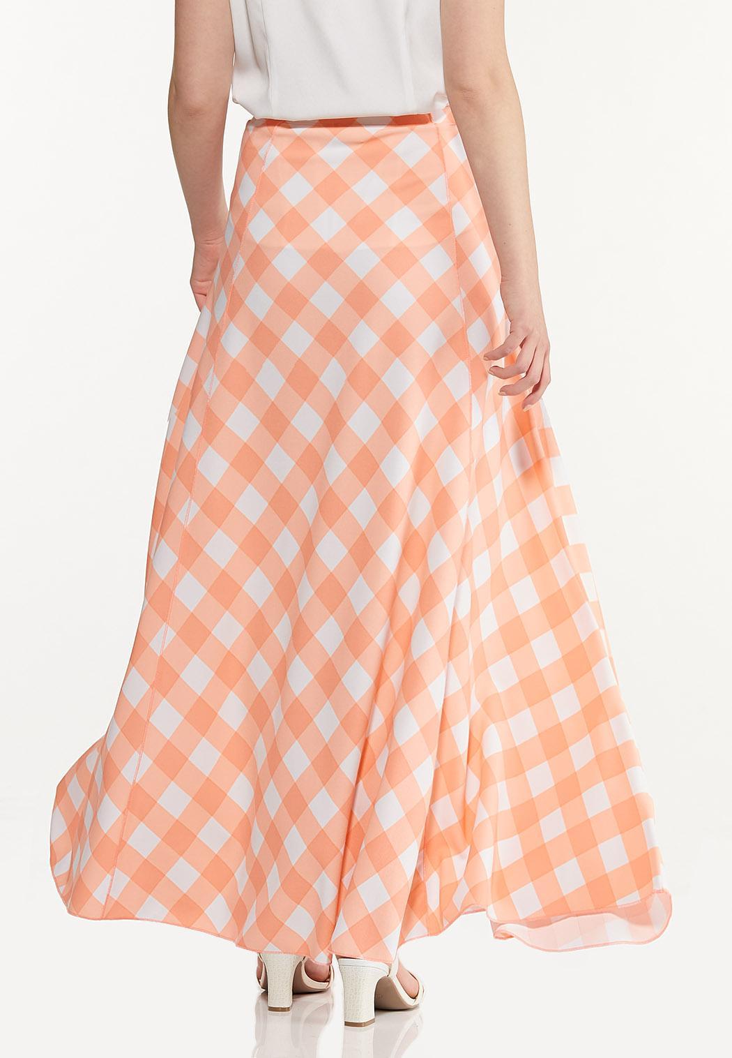 Plus Size Peach Gingham Maxi Skirt (Item #44570282)