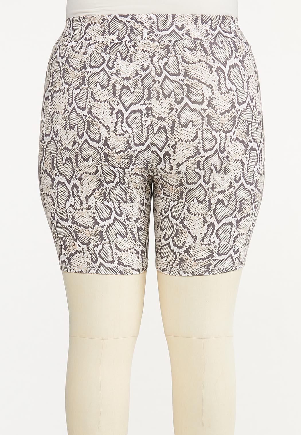 Plus Size Snakeskin Biker Shorts (Item #44570443)