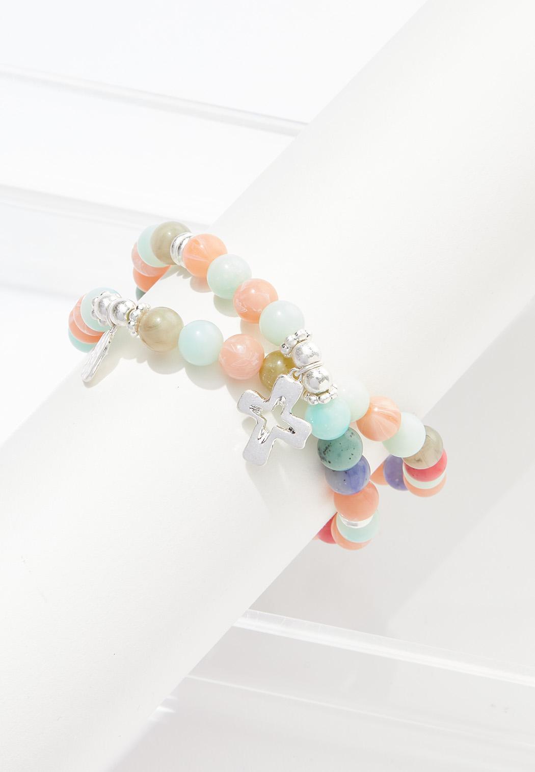 Cross Charm Beaded Bracelet Set (Item #44570897)