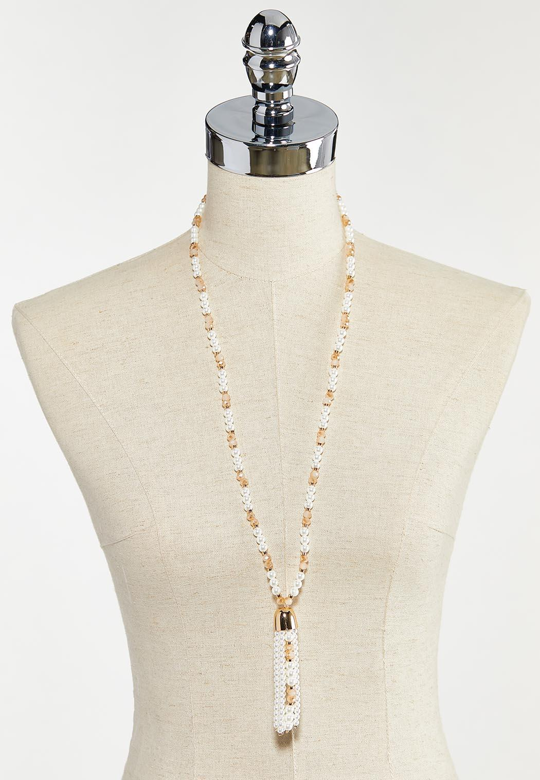 Delicate Pearl Bead Tassel Necklace (Item #44571119)