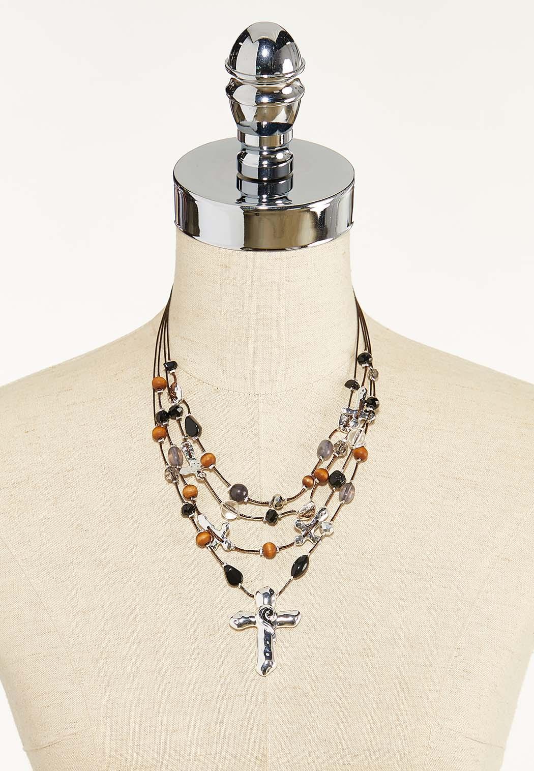 Layered Bead Cross Necklace (Item #44571181)