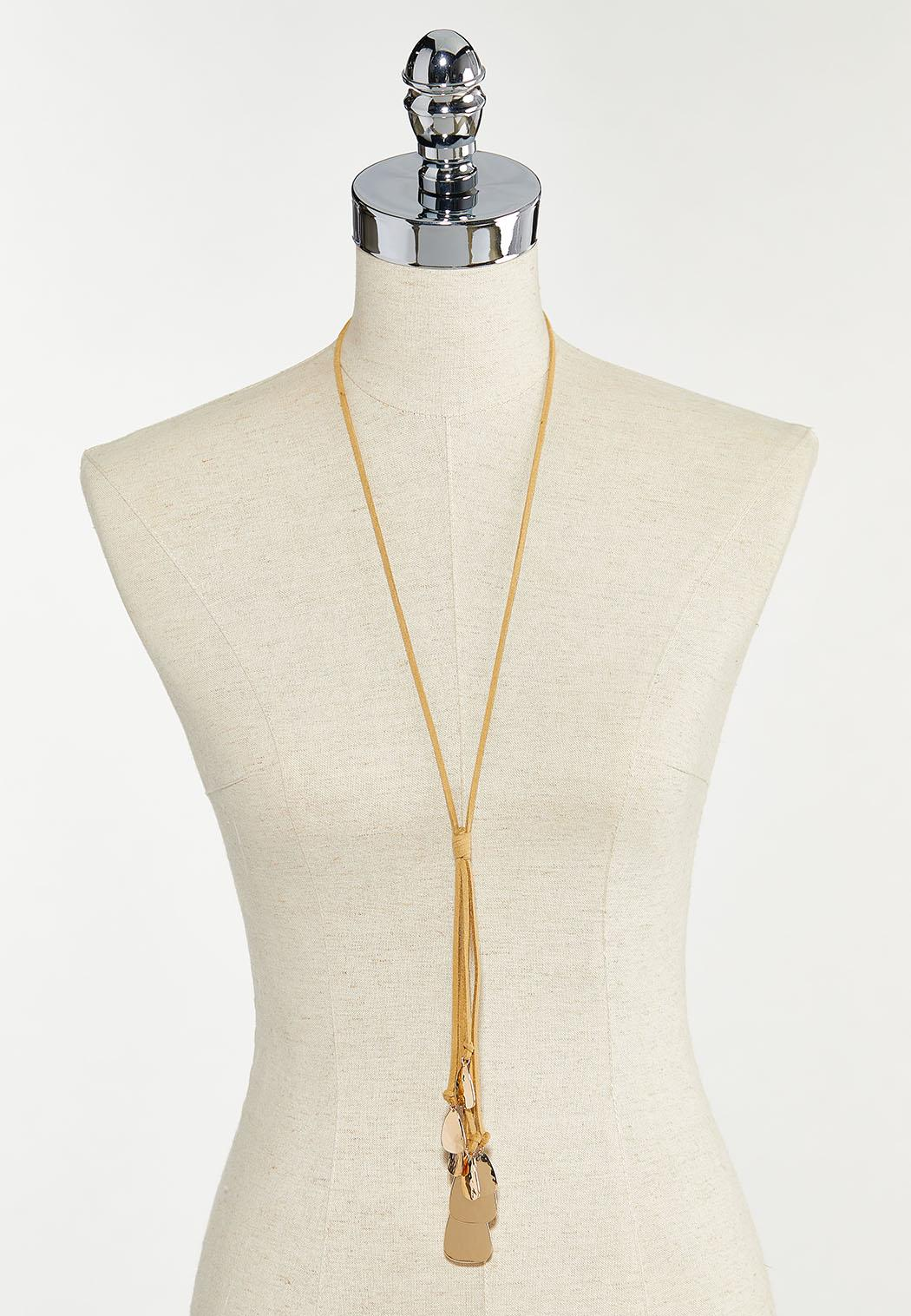 Hammered Metal Charm Cord Necklace (Item #44571508)