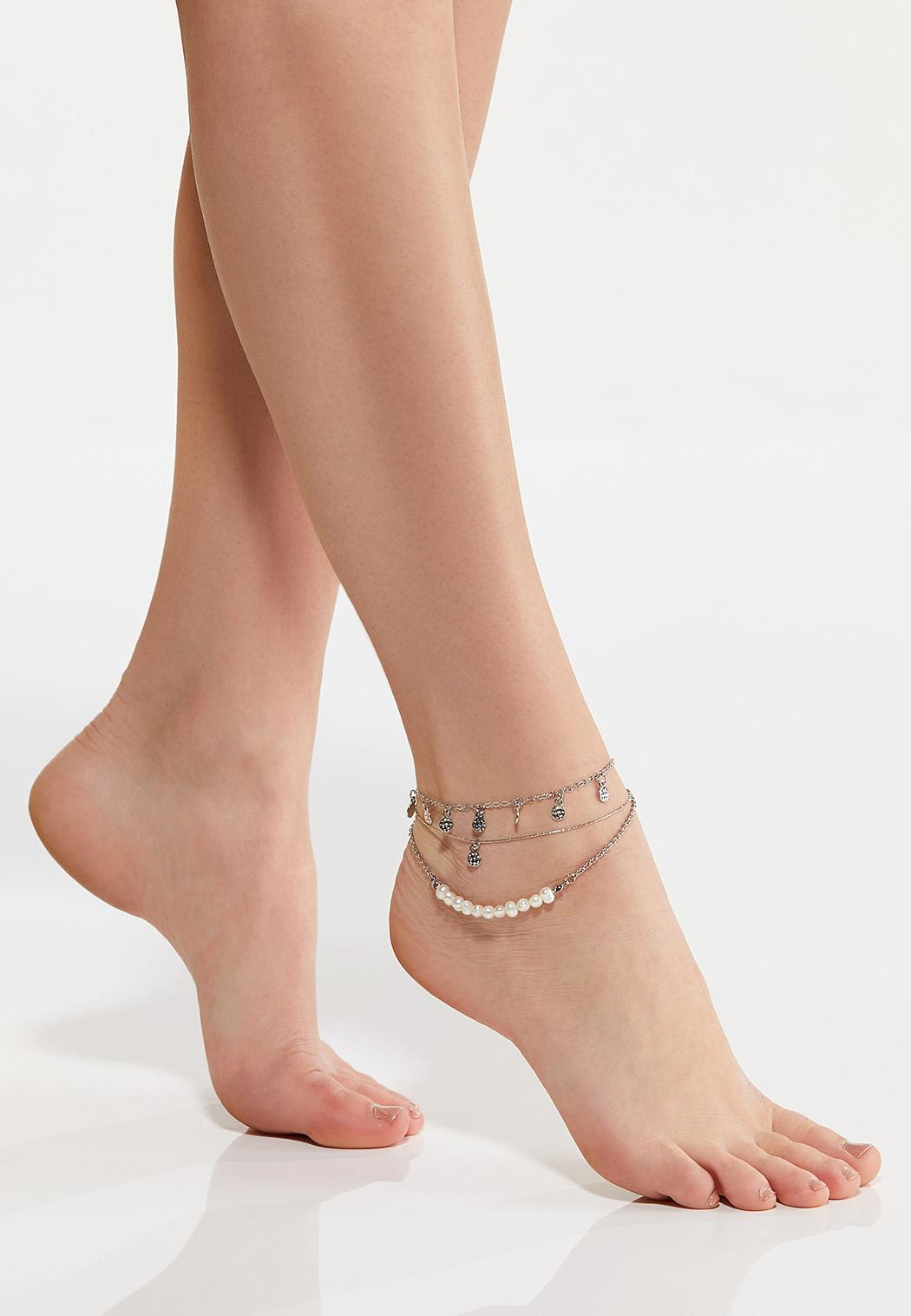 Layered Pearl Charm Anklet (Item #44571714)