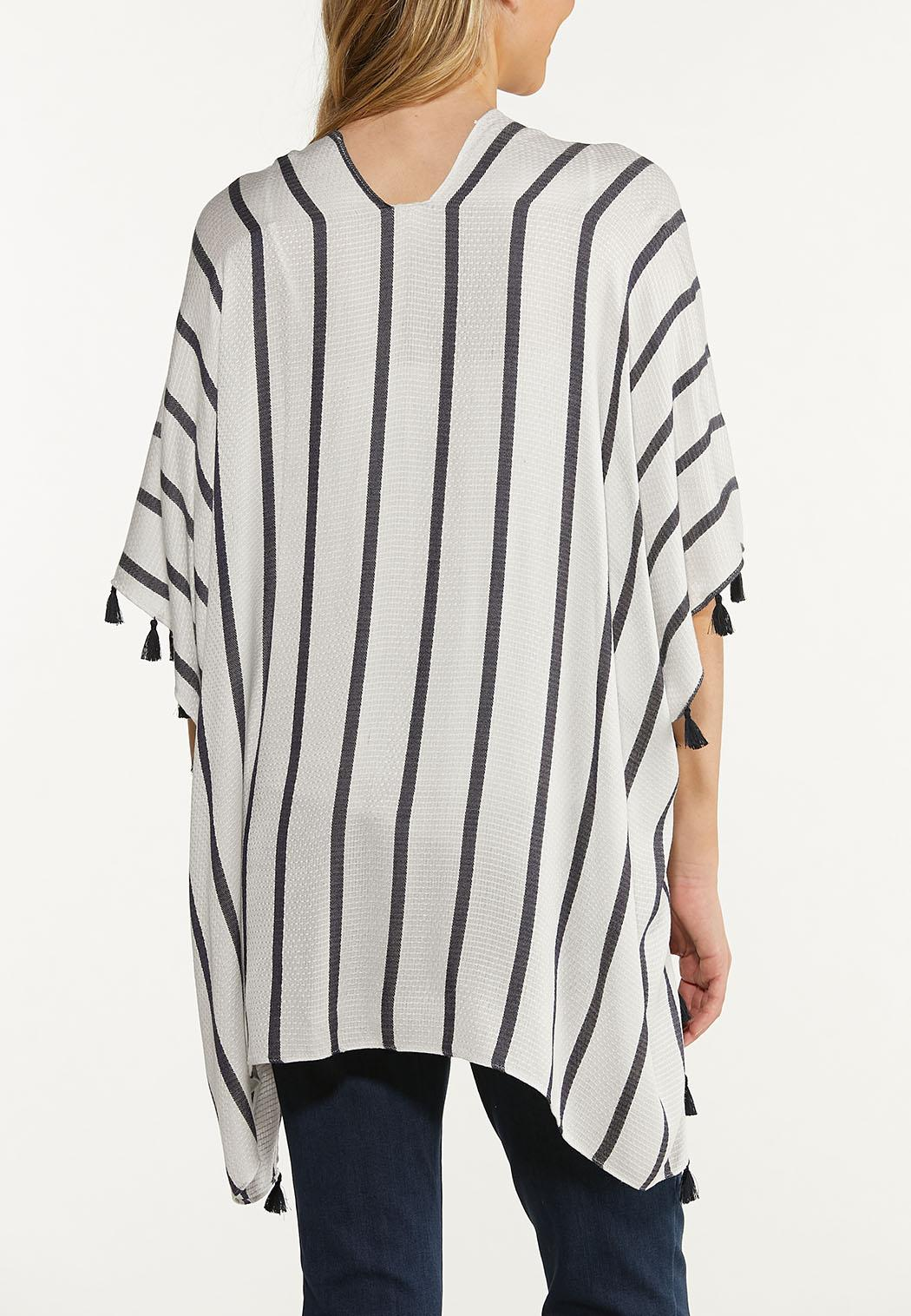 Stripe Texture Fringe Kimono (Item #44571752)