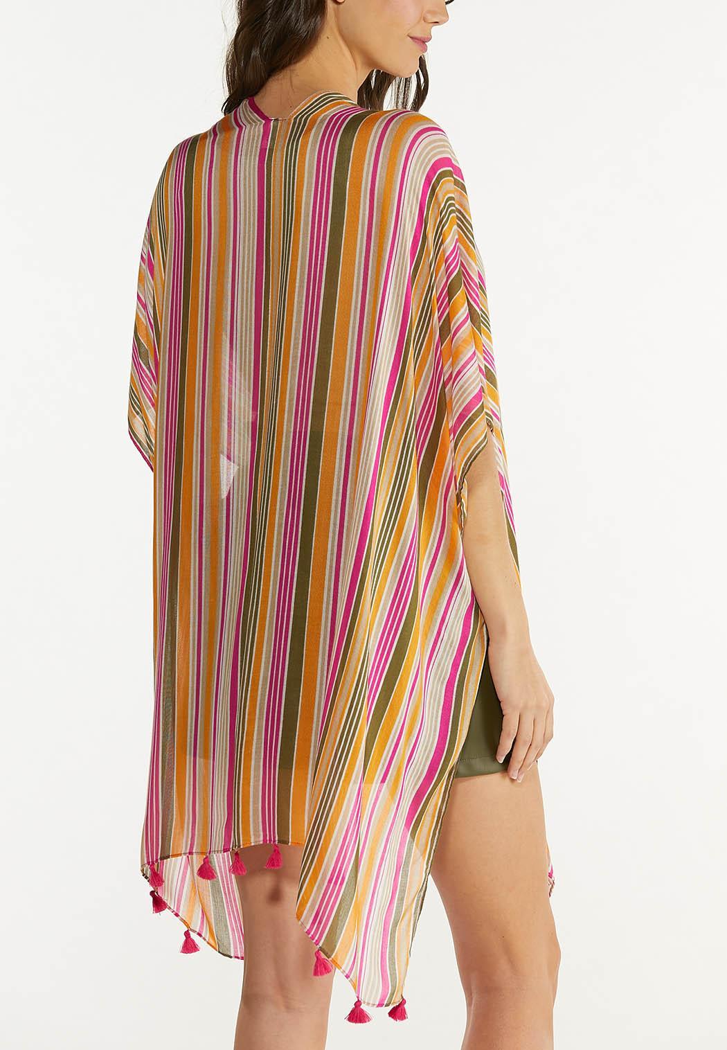 Tassel Trim Striped Kimono (Item #44571809)