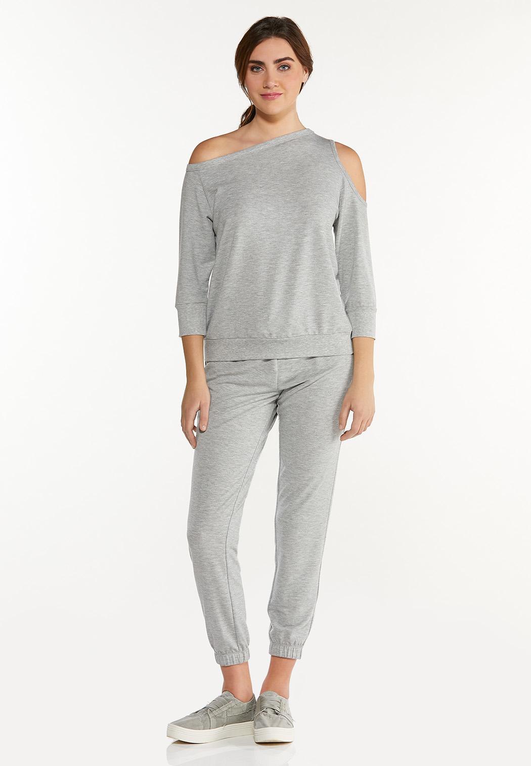 Plus Size Cutout Shoulder Sweatshirt (Item #44571872)