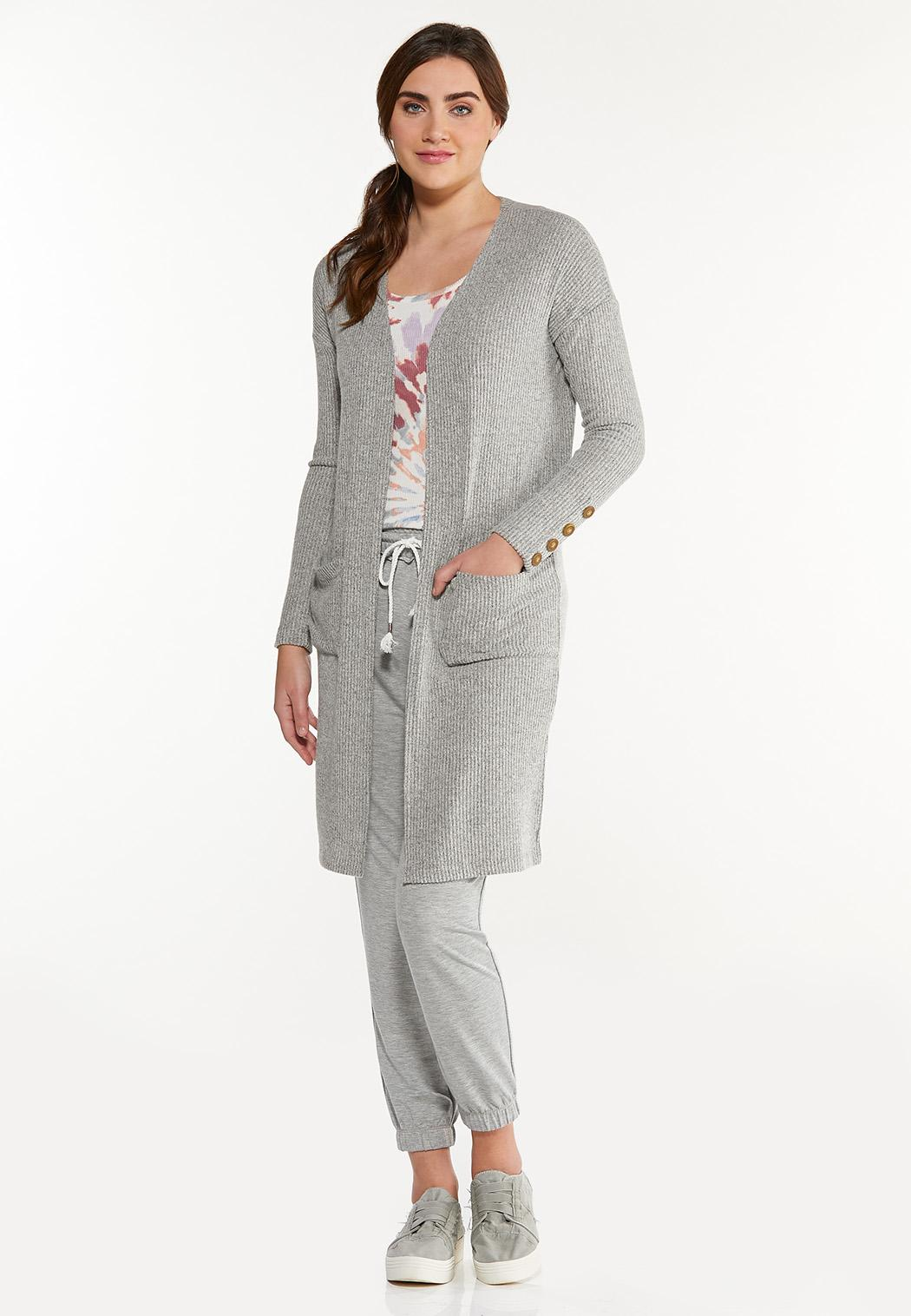 Plus Size Cozy Ribbed Cardigan (Item #44572232)