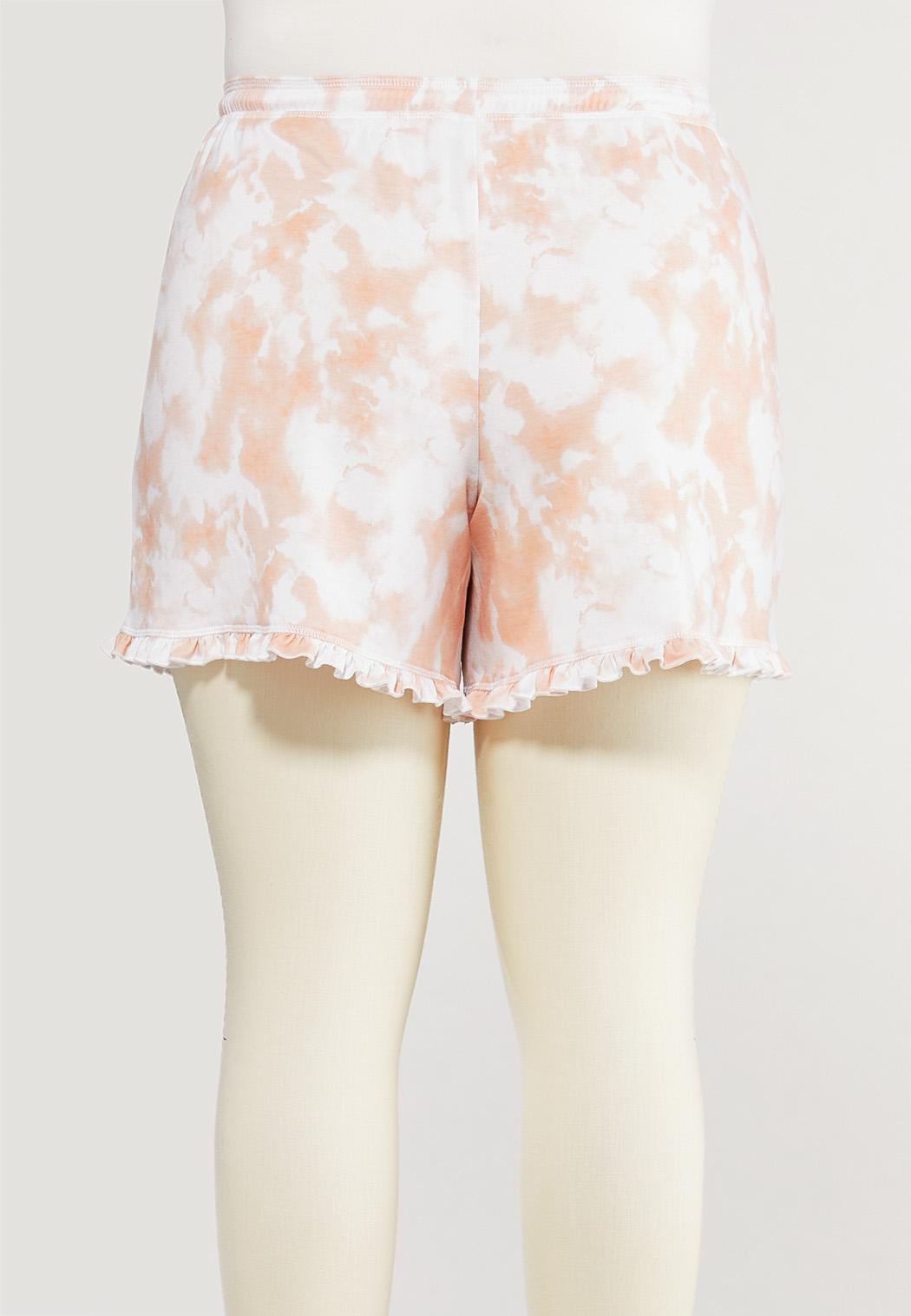 Plus Size Ruffled Tie Dye Lounge Shorts (Item #44572862)