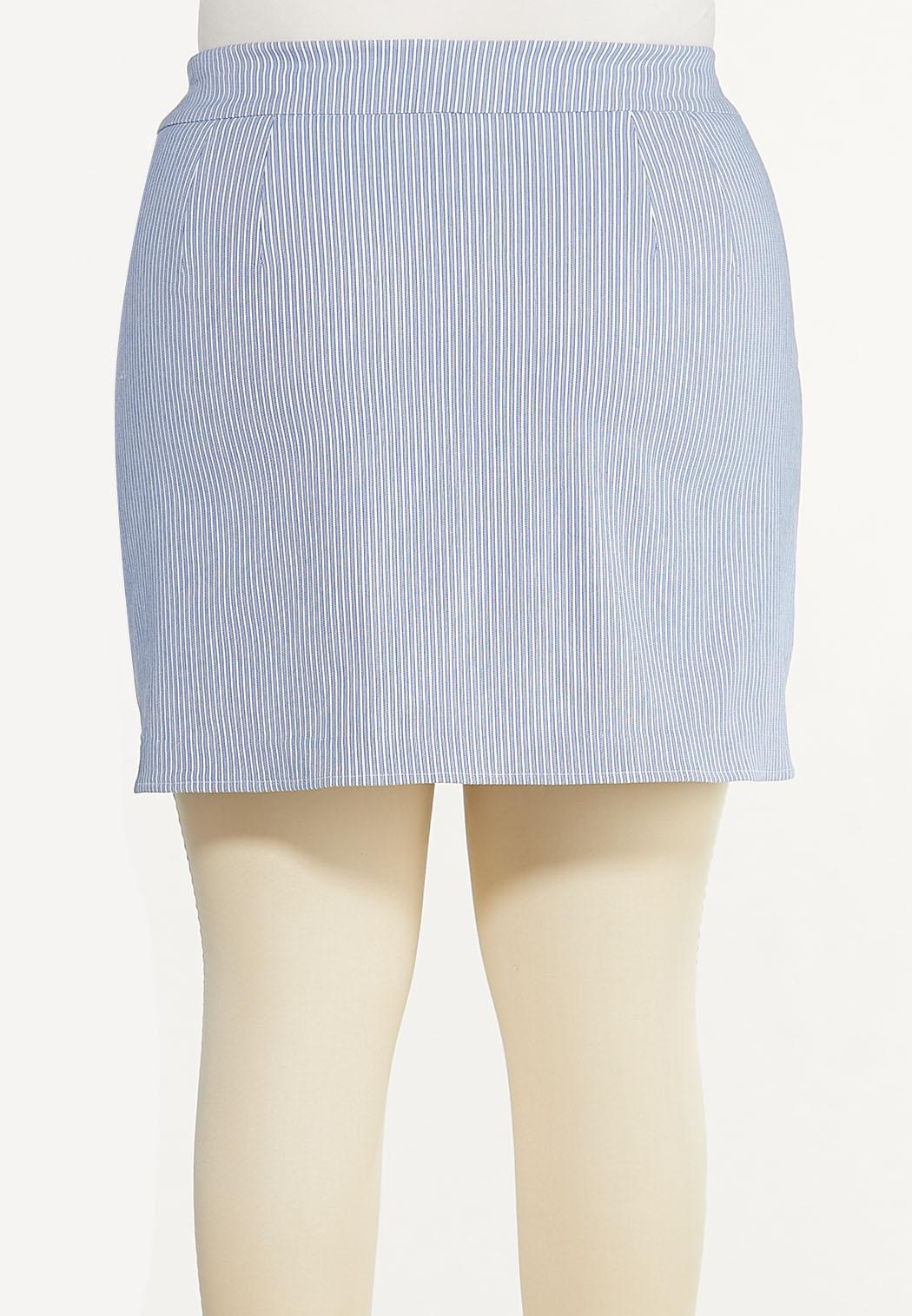 Plus Size Blue Striped Skort (Item #44573093)